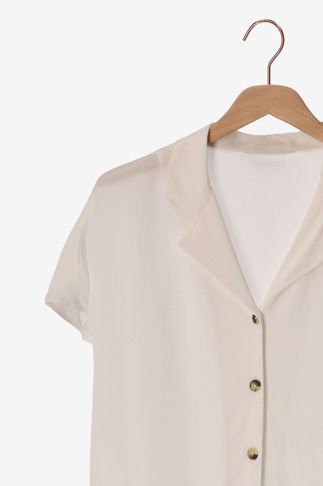 Witte blouse met korte mouwen - Dames | Sissy-Boy