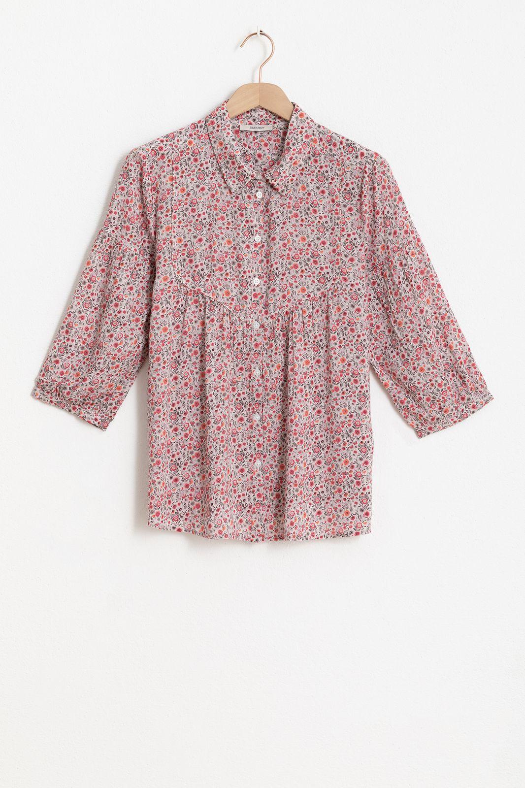 Multicolor blouse met all over bloemenprint en ballonmouwen