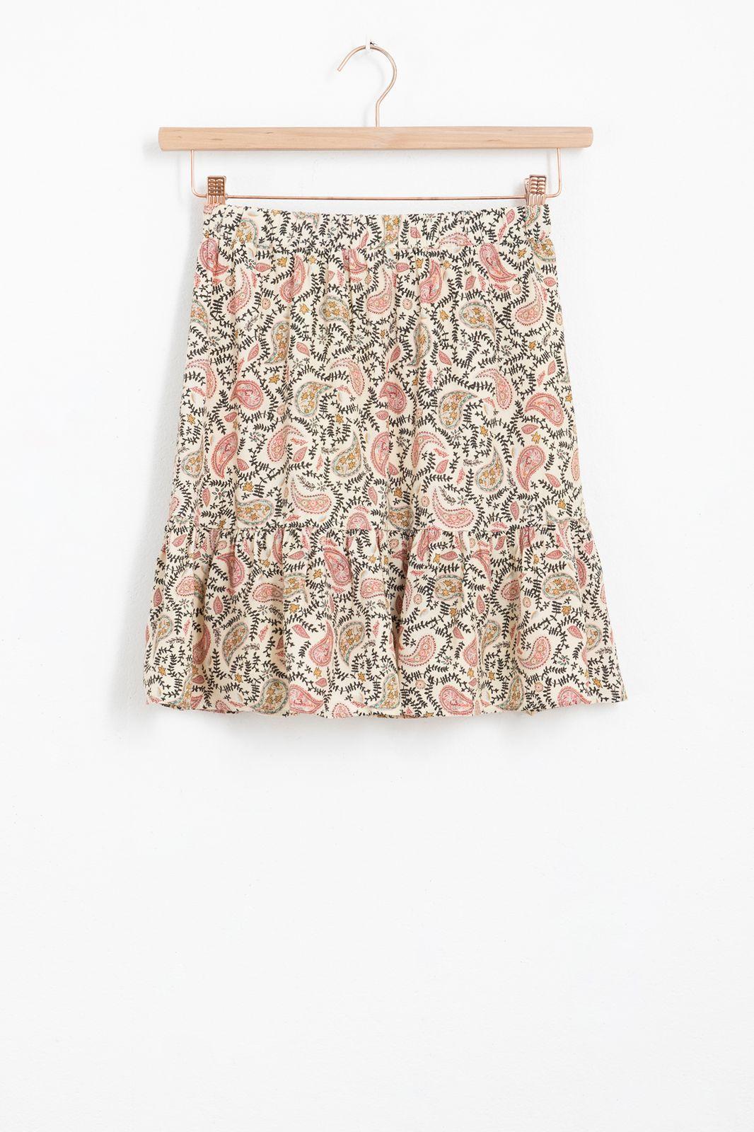 Witte mini rok met all over paisley print en ruffle detail - Dames   Sissy-Boy