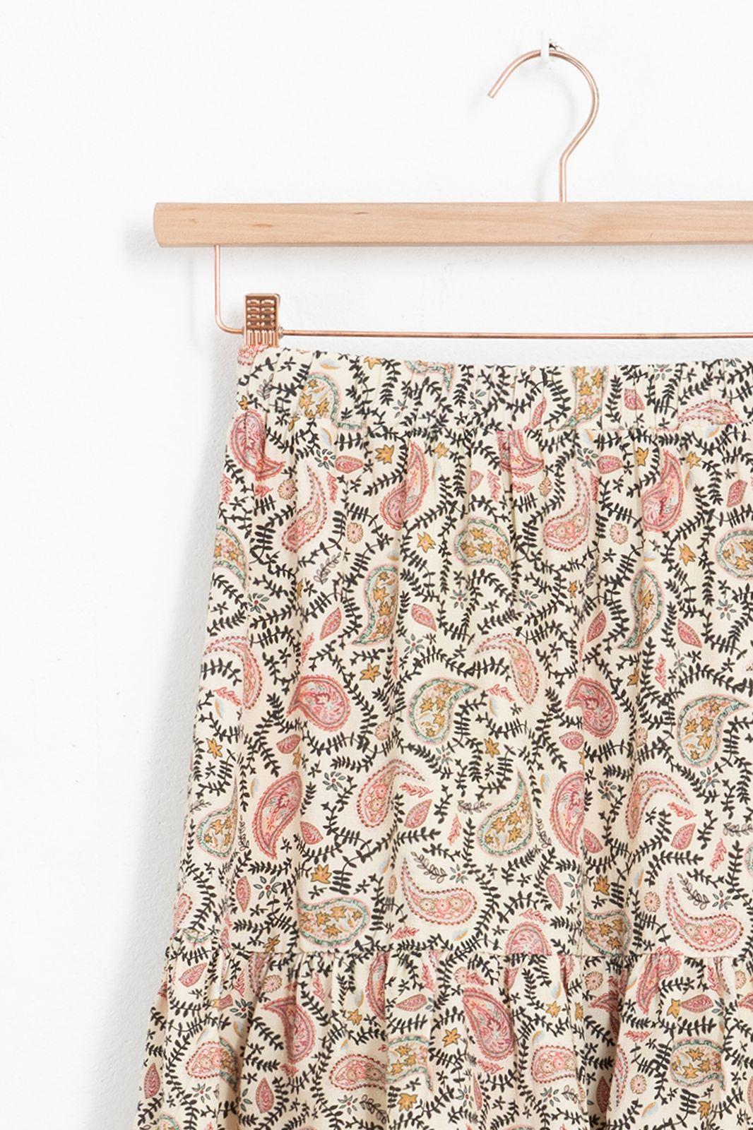 Witte mini rok met all over paisley print en ruffle detail - Dames | Sissy-Boy