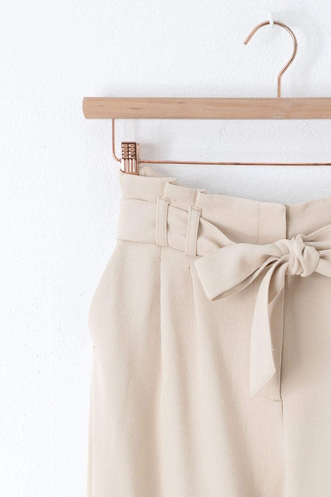 Off white wide leg paperbag met strikceintuur - Dames | Sissy-Boy