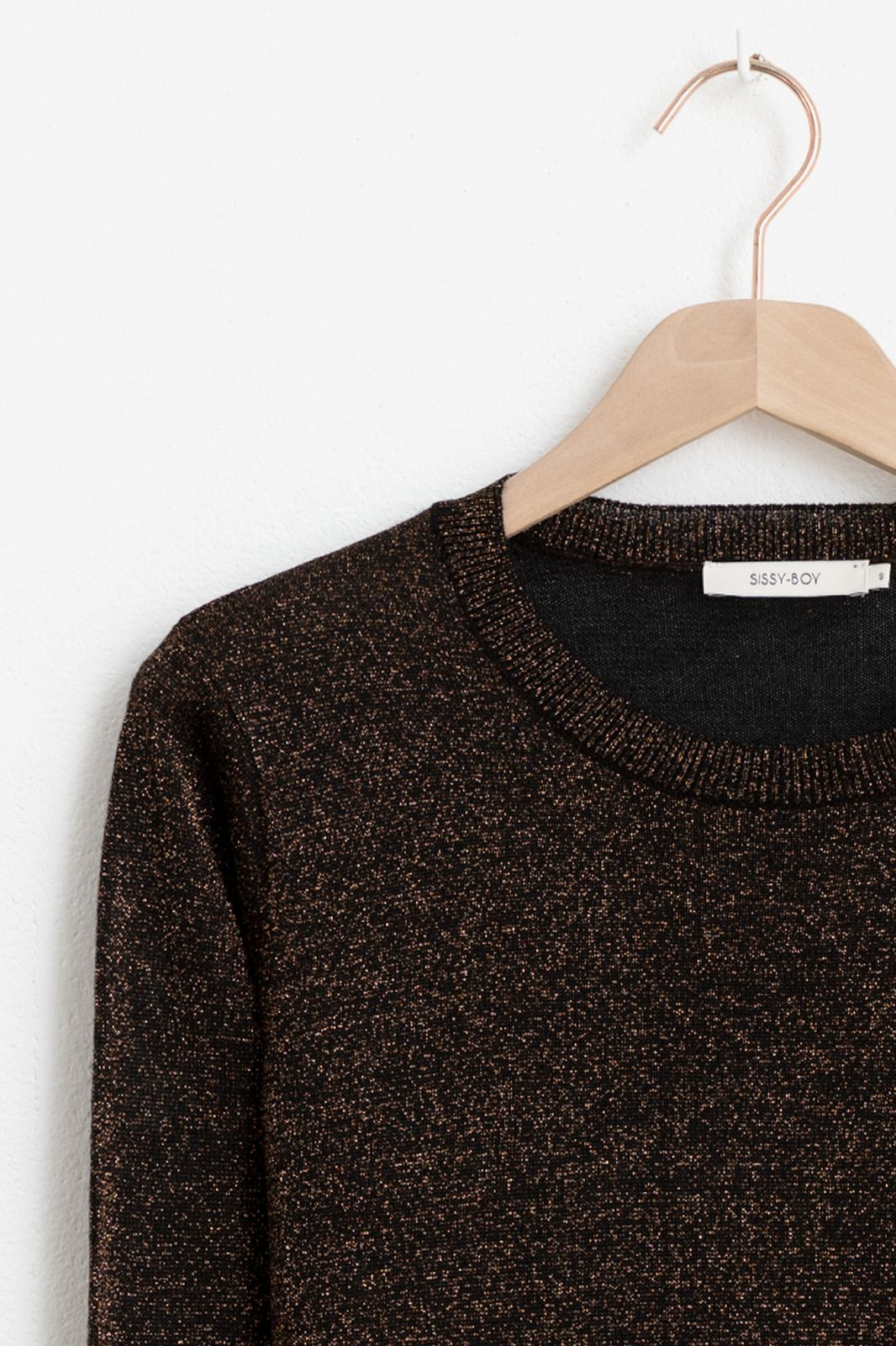Zwarte lurex pullover - Dames | Sissy-Boy