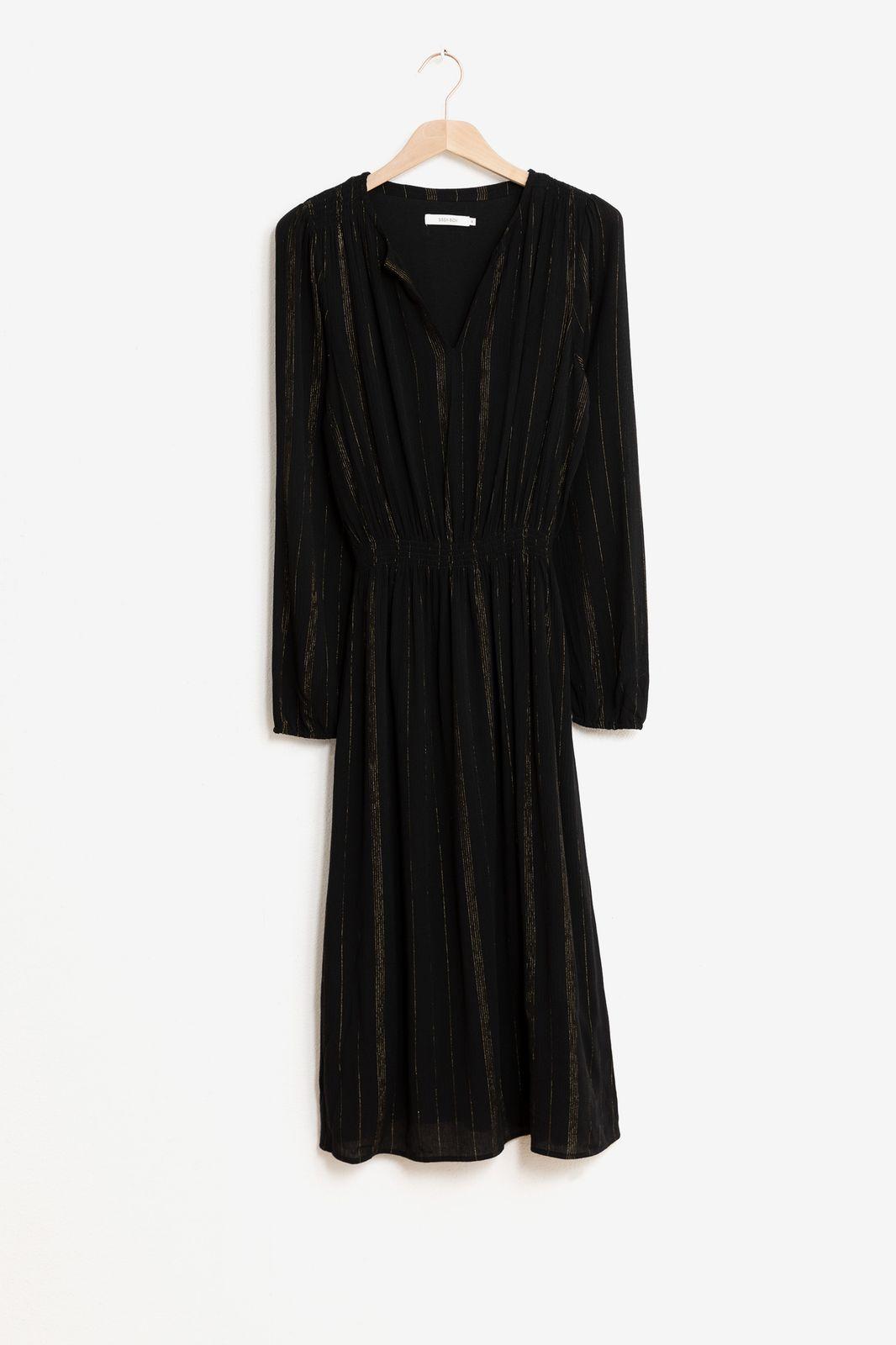 Zwarte midi jurk met goudkleurig lurex - Dames | Sissy-Boy