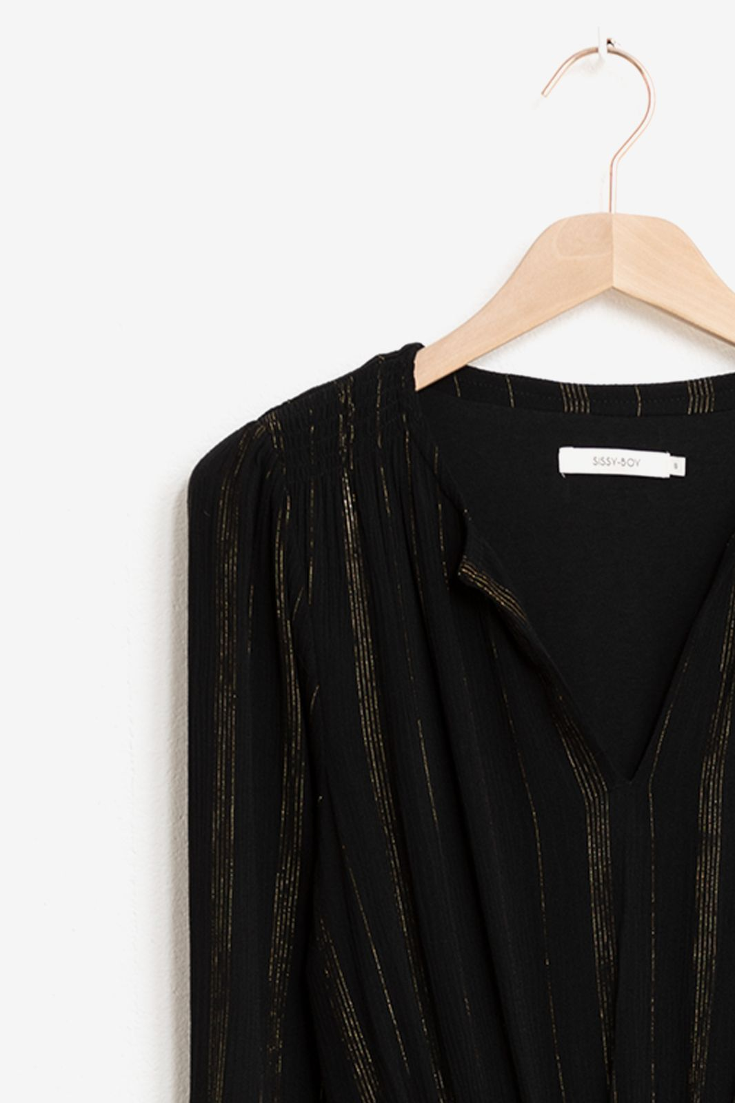Zwarte midi jurk met goudkleurig lurex