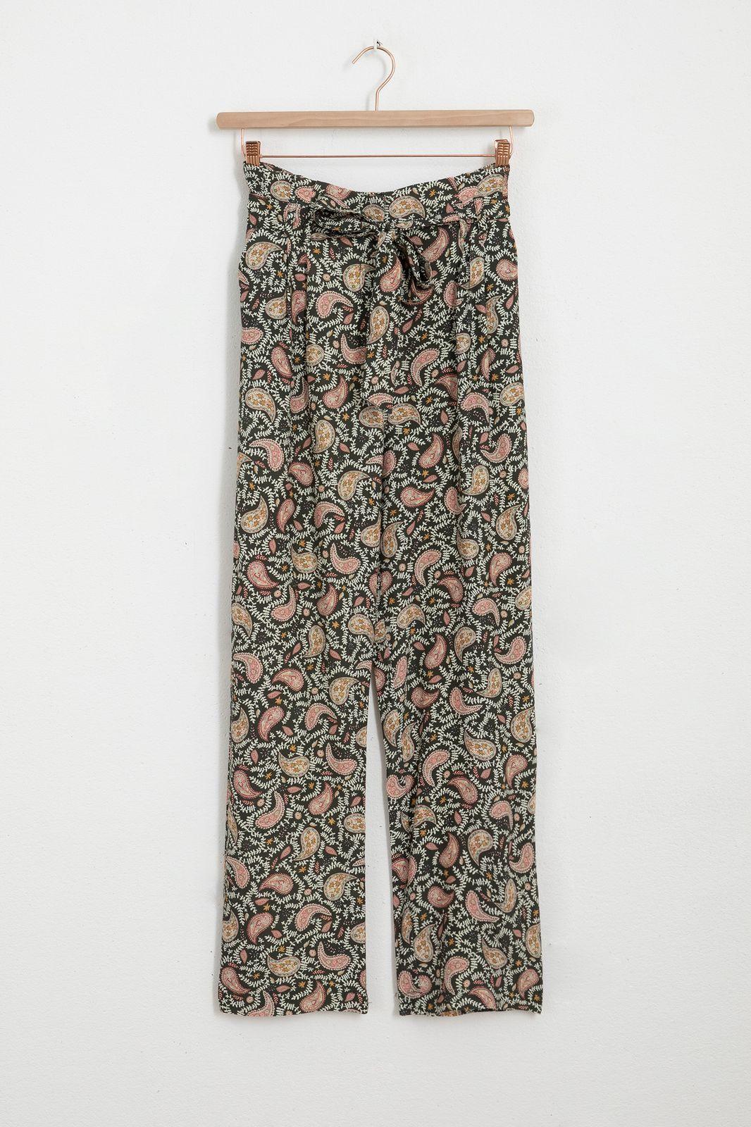 Zwarte paperbag pantalon met all over paisley print - Dames | Sissy-Boy