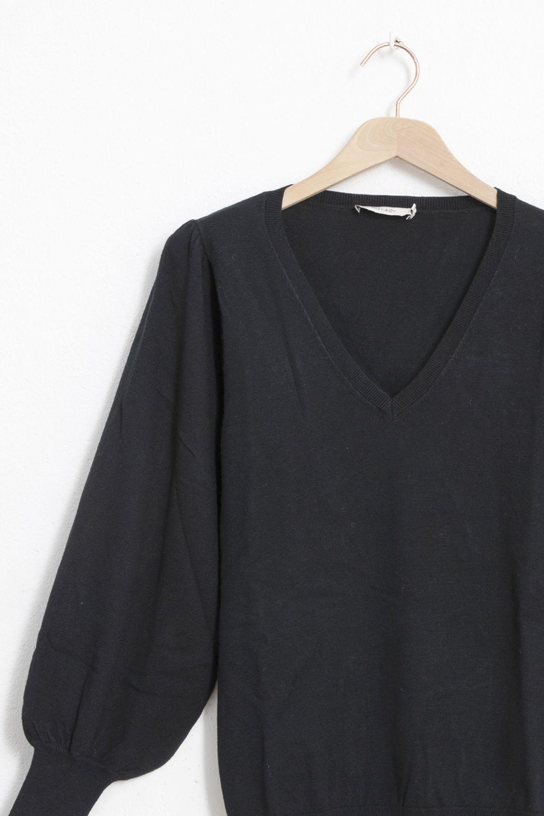 Zwarte pullover met v-hals en pofmouwen - Dames | Sissy-Boy