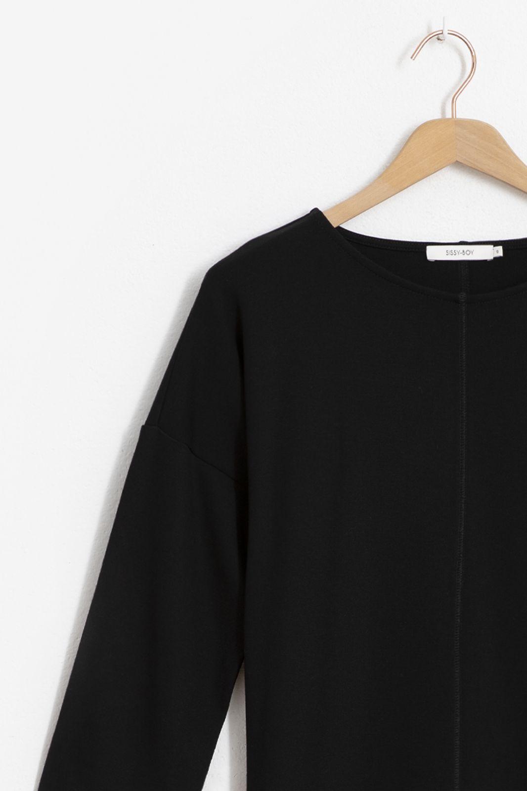 Zwarte jersey jurk met schouderknopen - Dames | Sissy-Boy