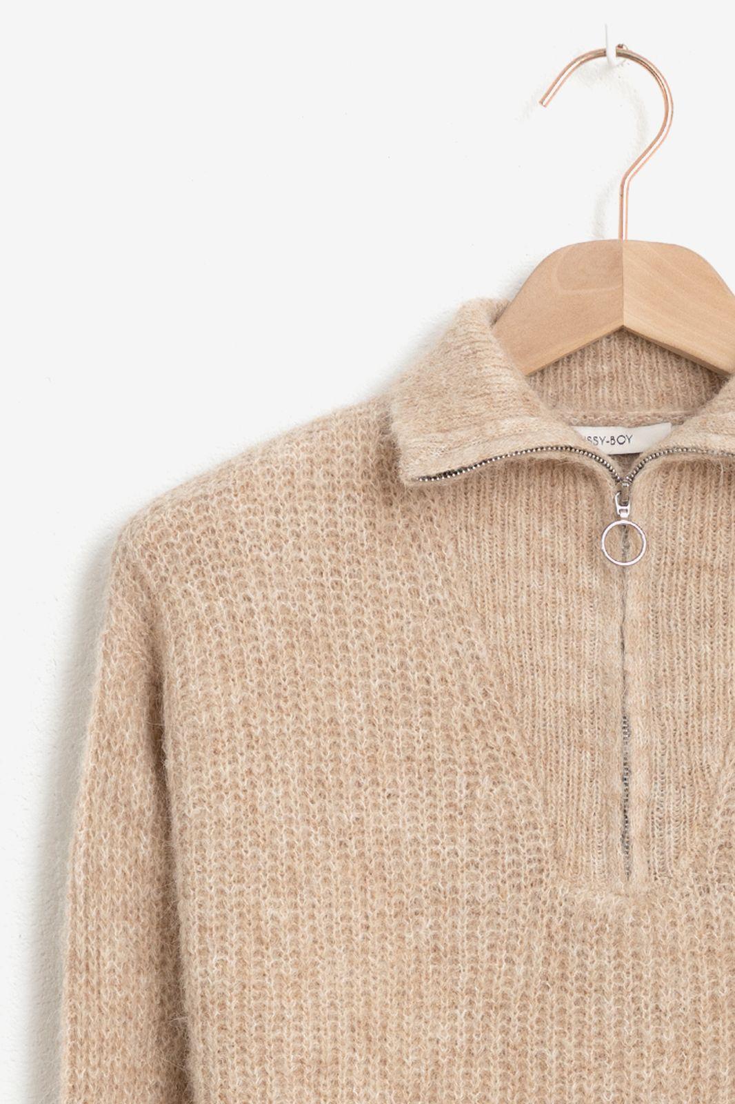Beige pullover met rits - Dames | Sissy-Boy