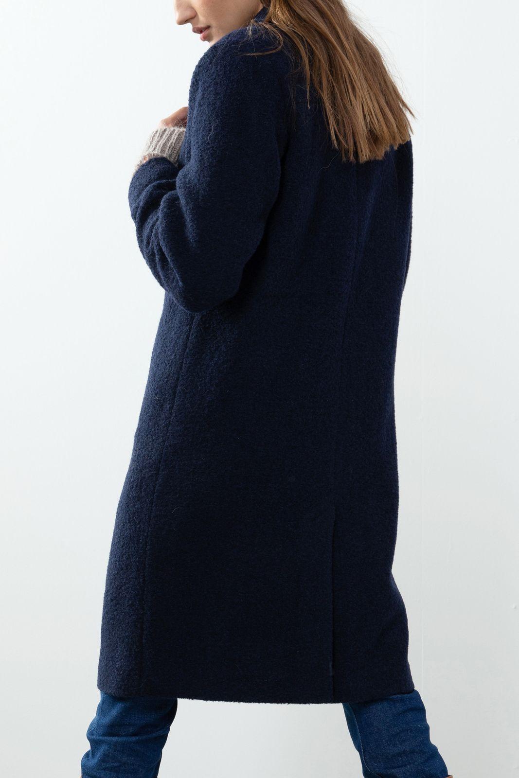Blauwe lange wollen jas - Dames | Sissy-Boy