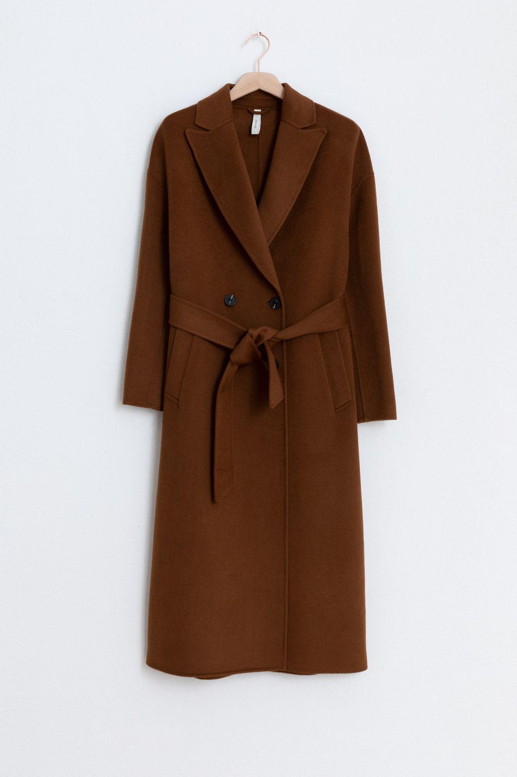 Bruine lange jas met ceintuur - Dames | Sissy-Boy