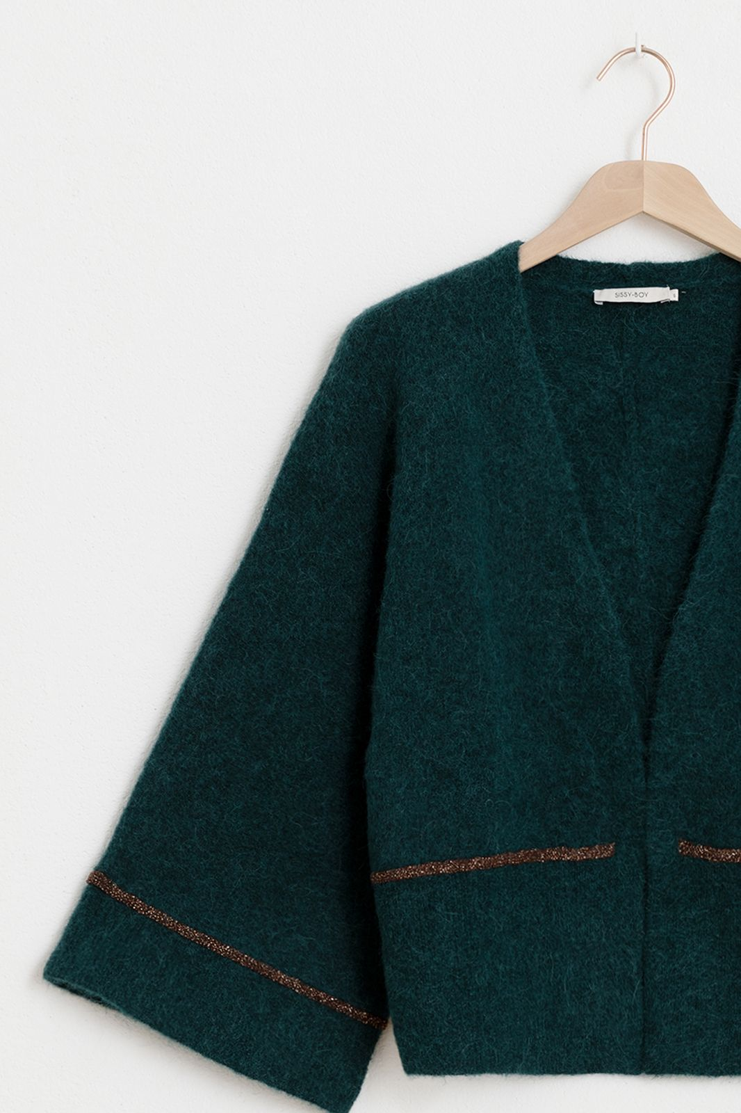 Donkergroen kimono vest met lurex - Dames | Sissy-Boy