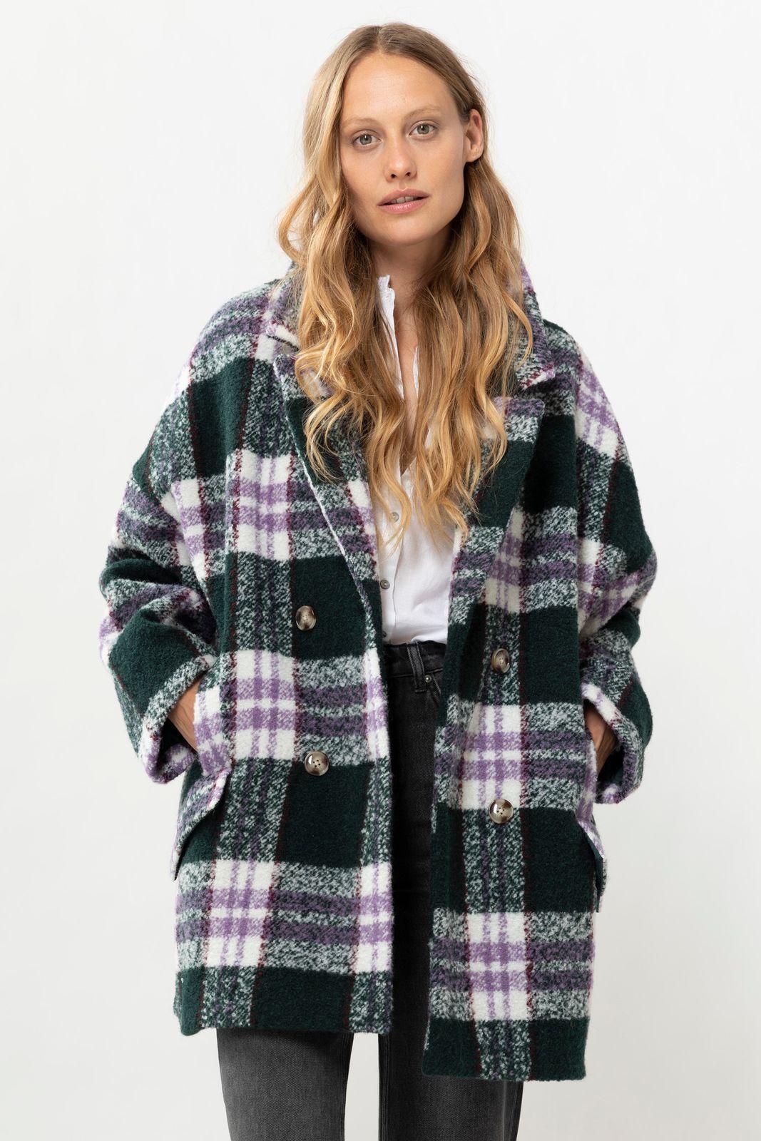 Donkergroene Wollen jas met ruit - Dames | Sissy-Boy