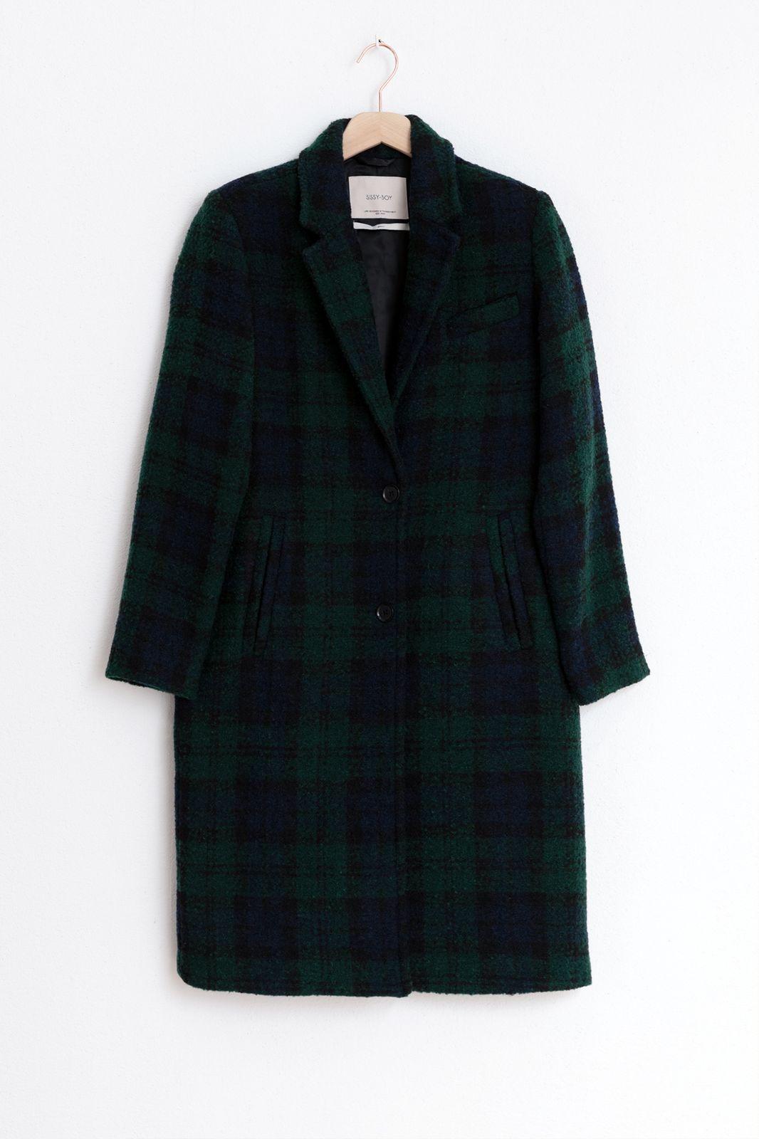 Groene lange geruite jas - Dames | Sissy-Boy