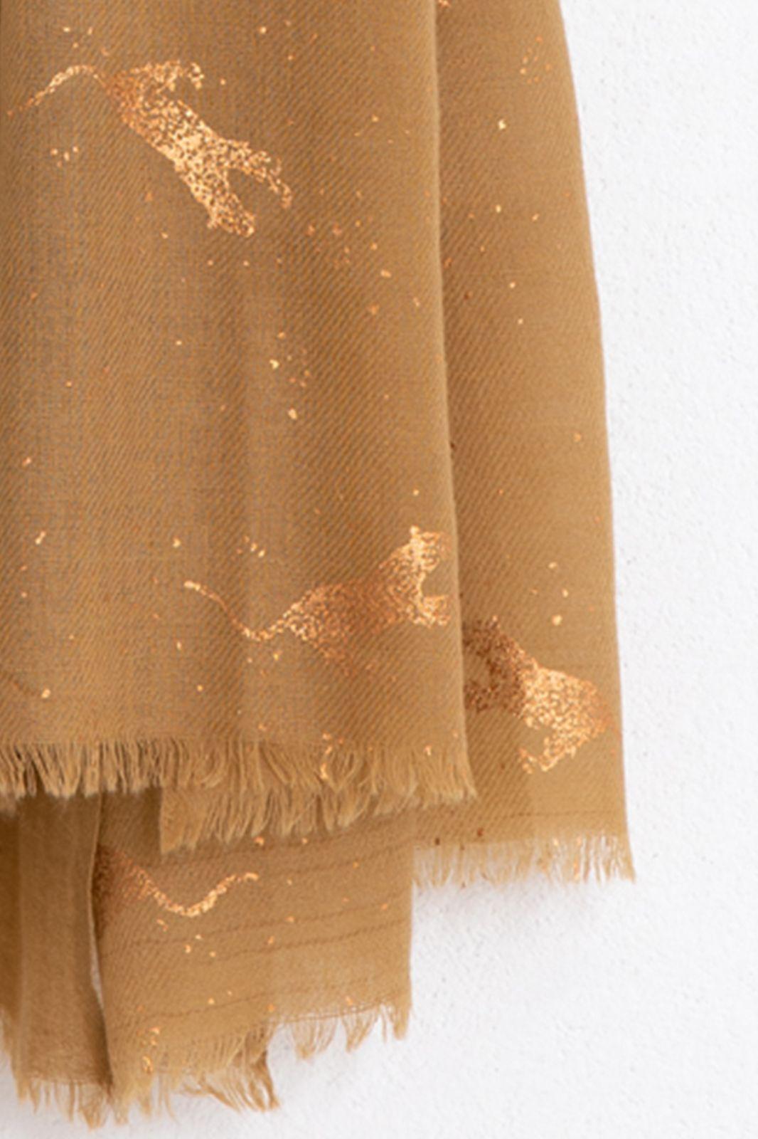 Bruine wollen sjaal met luipaard foil