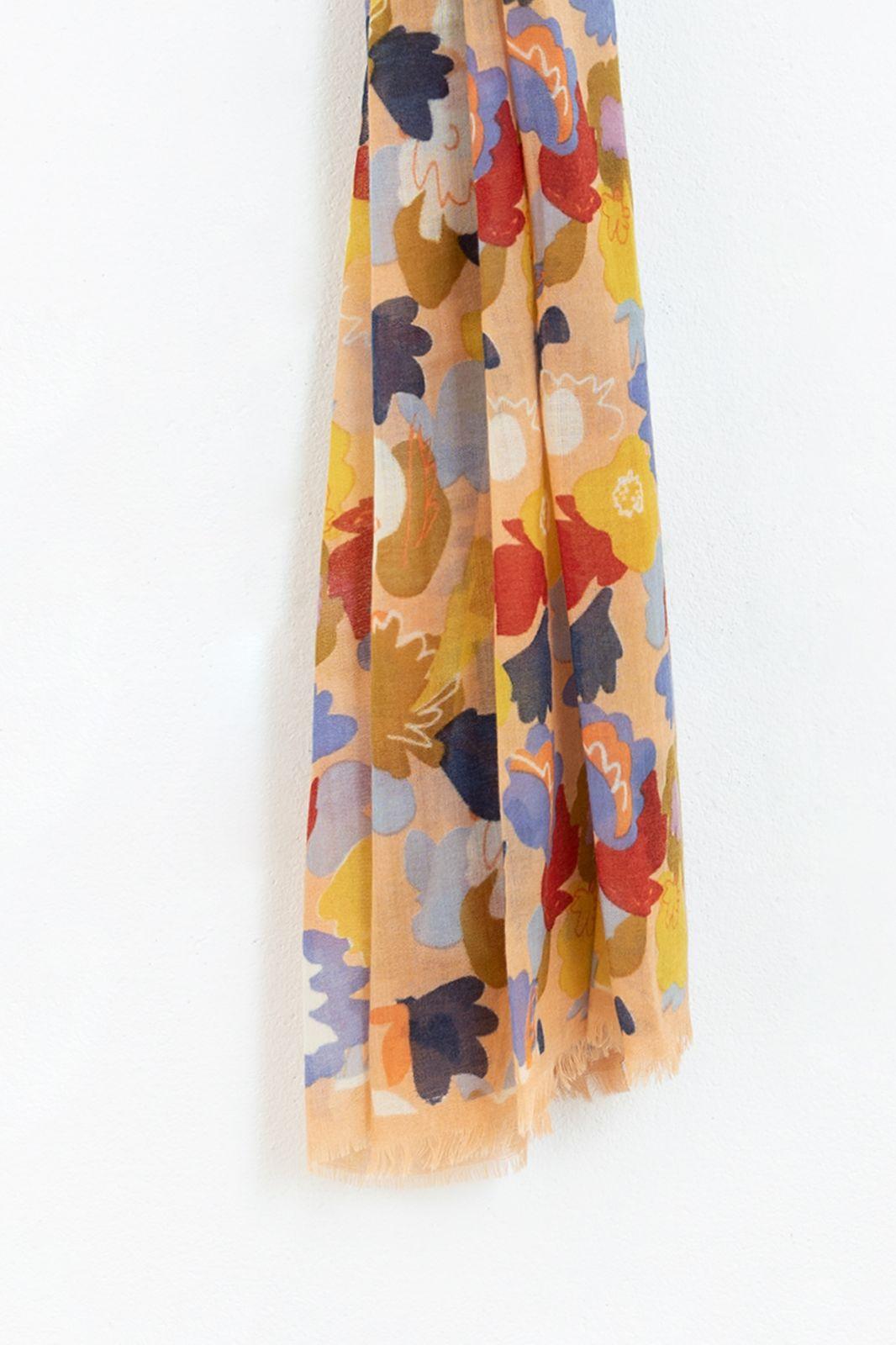 Wollen sjaal met bloemenprint