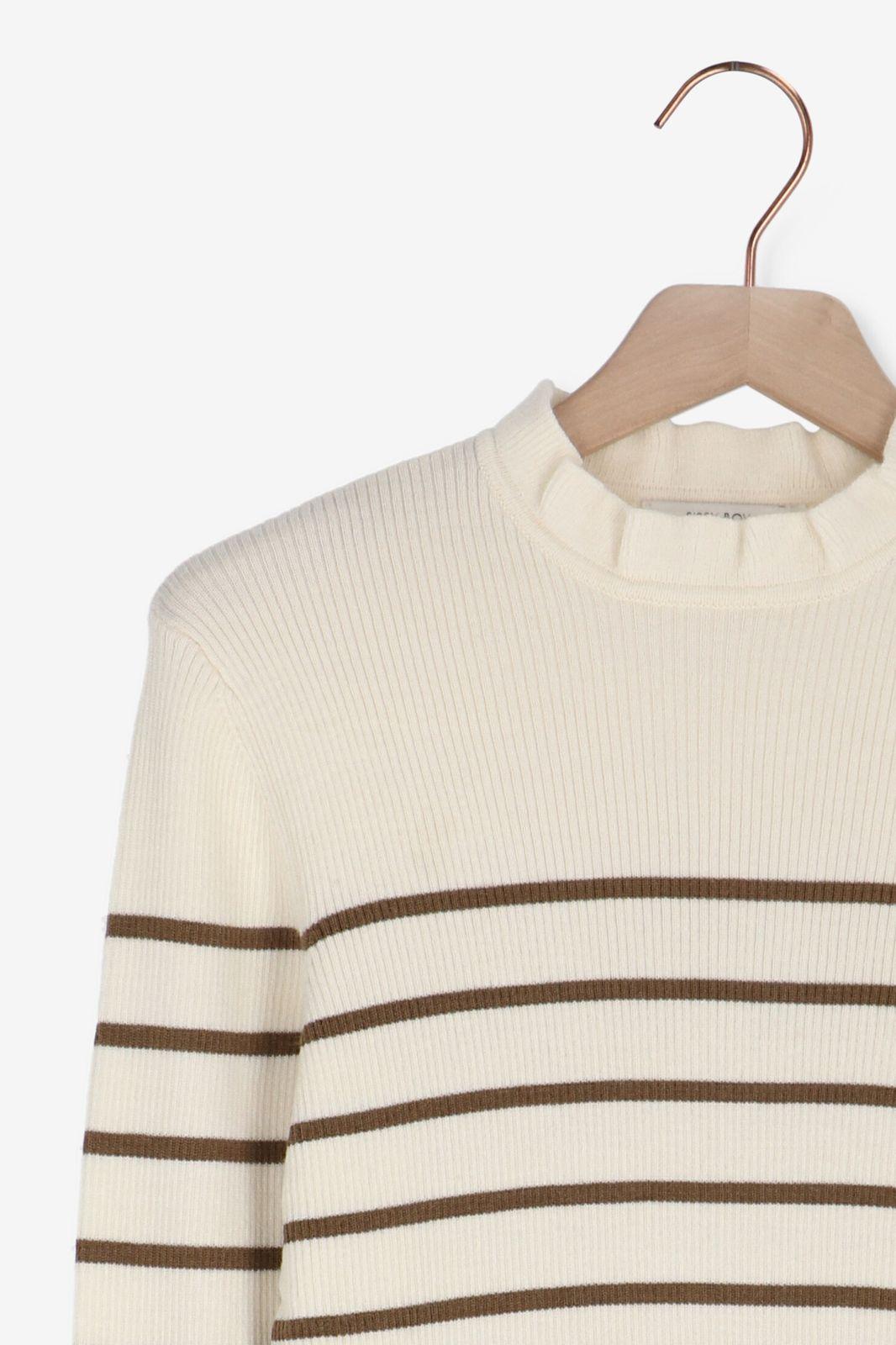Striped pullover met ruffle neck - Dames   Sissy-Boy