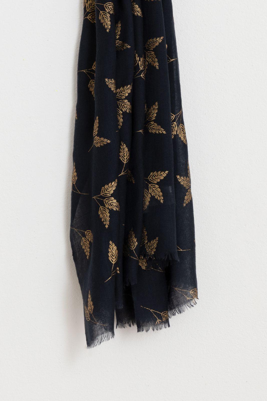 Wollen sjaal met gouden foil print