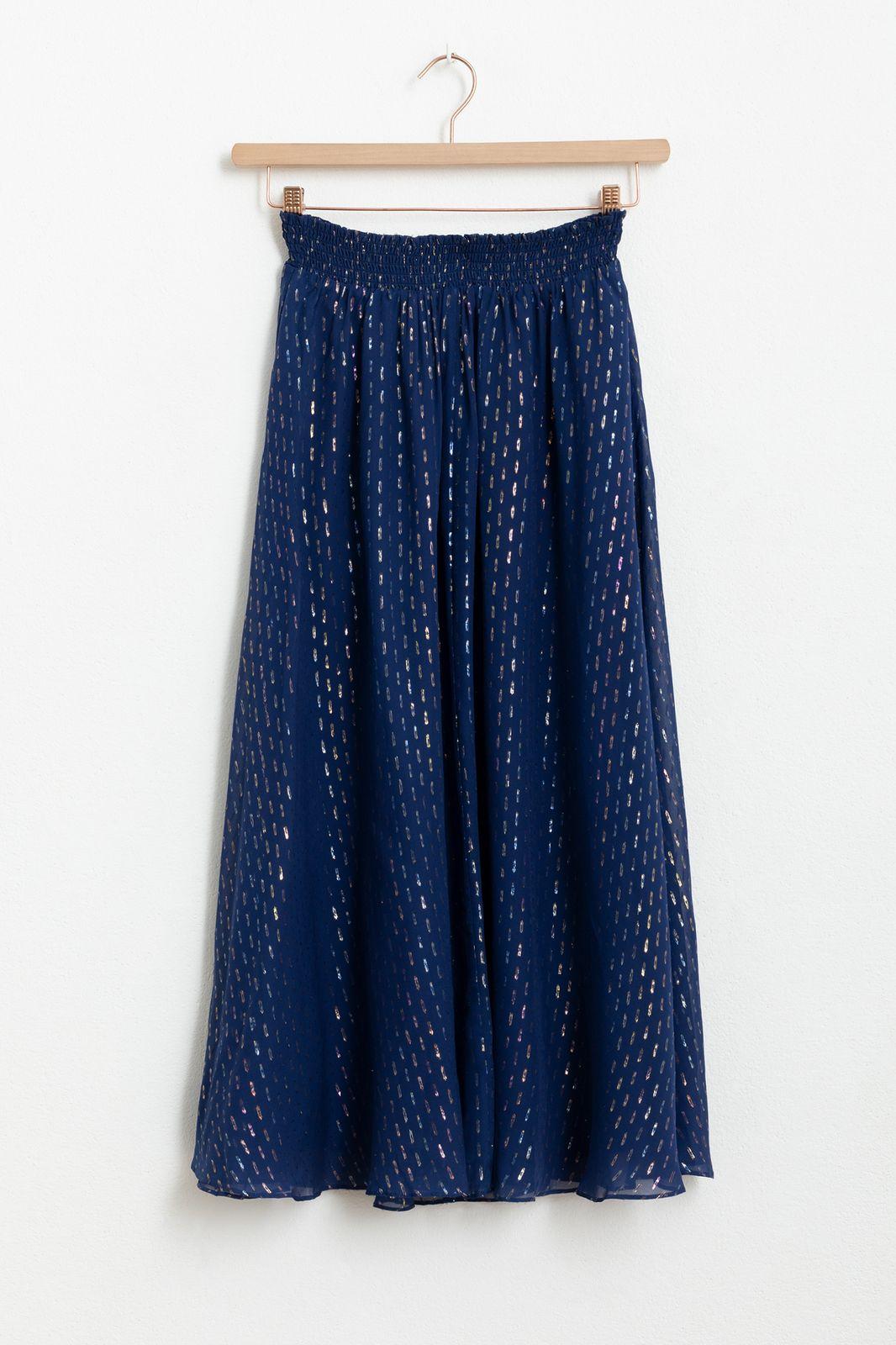 Blauwe zijden rok met lurex - Dames   Sissy-Boy