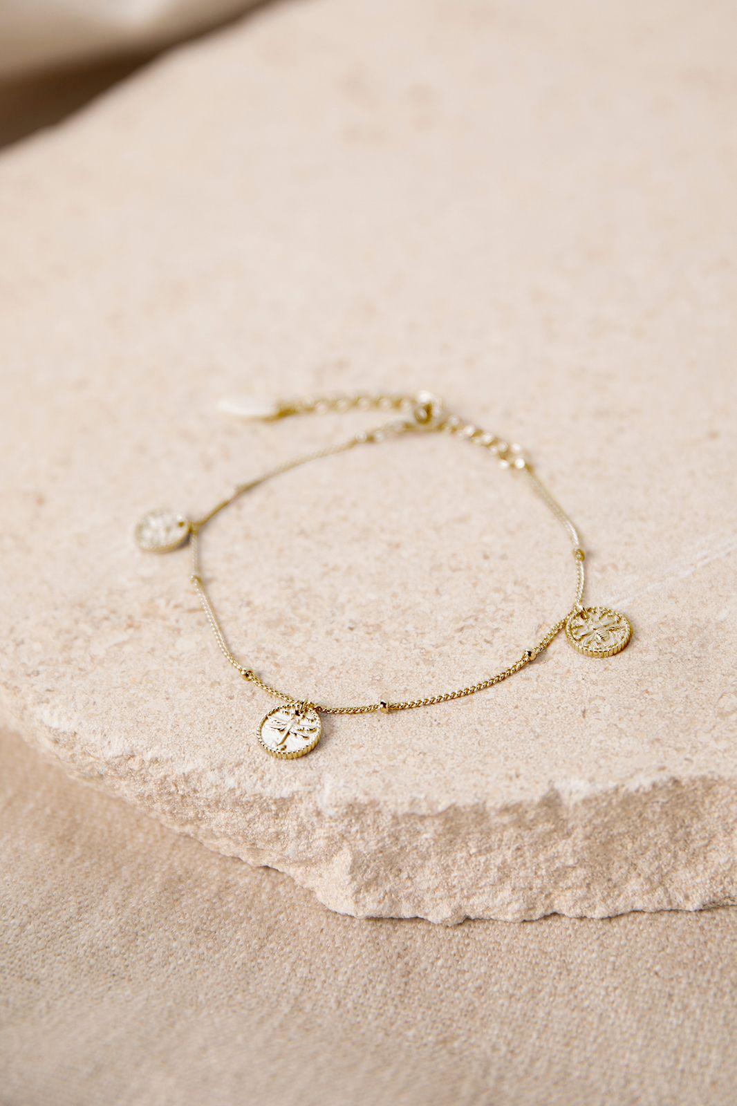Goldplated armband met muntjes - Dames   Sissy-Boy