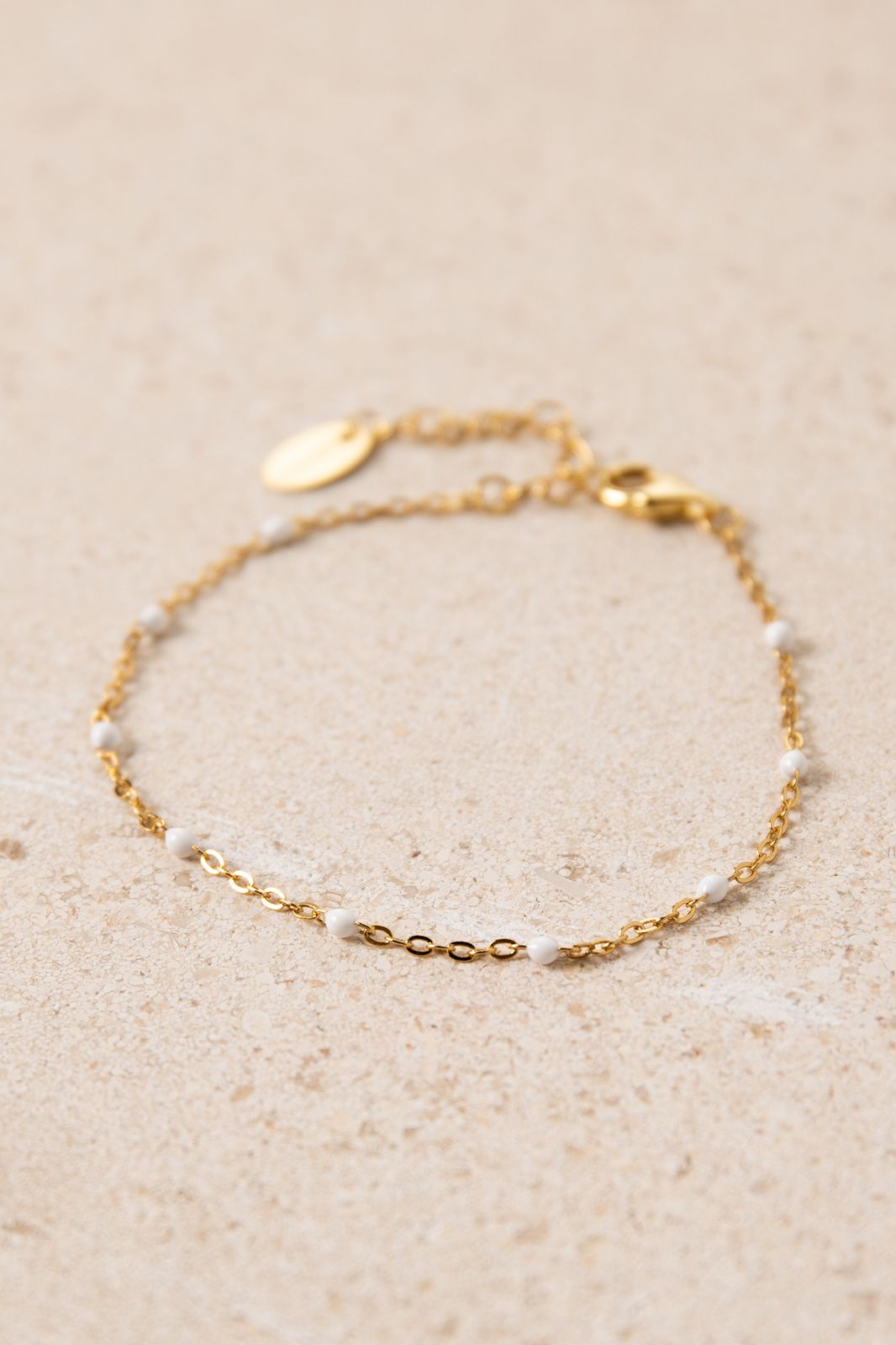 Goldplated armband met witte emaille - Dames | Sissy-Boy