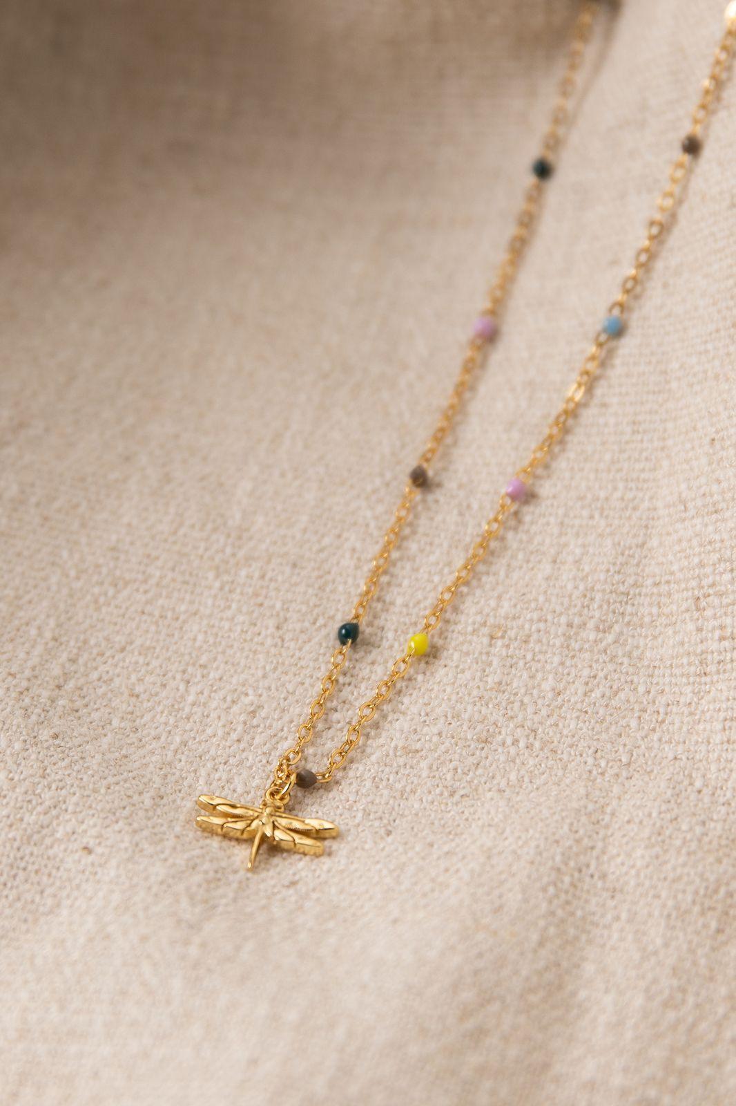 Goldplated ketting met multicolor emaille en libelle - Dames | Sissy-Boy