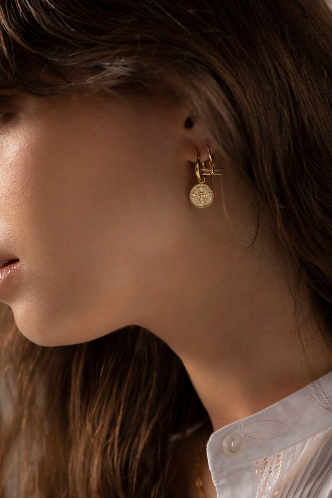 Goldplated oorbellen met libelle