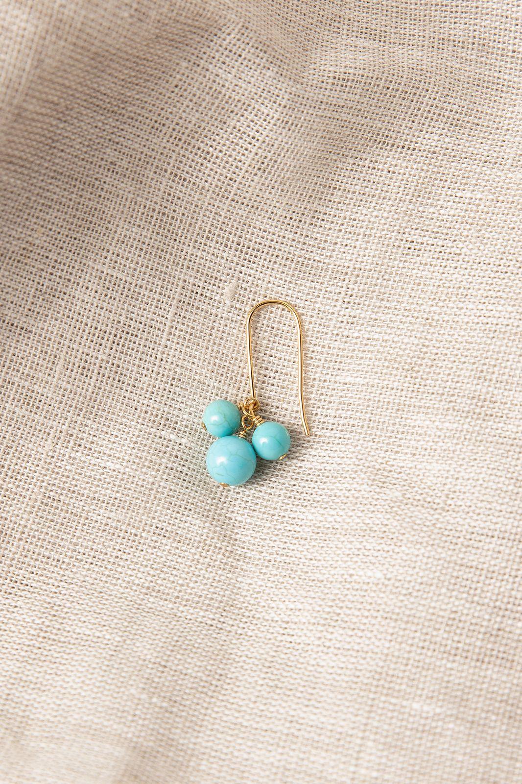 Goldplated oorbellen met blauwe bolletjes - Dames | Sissy-Boy