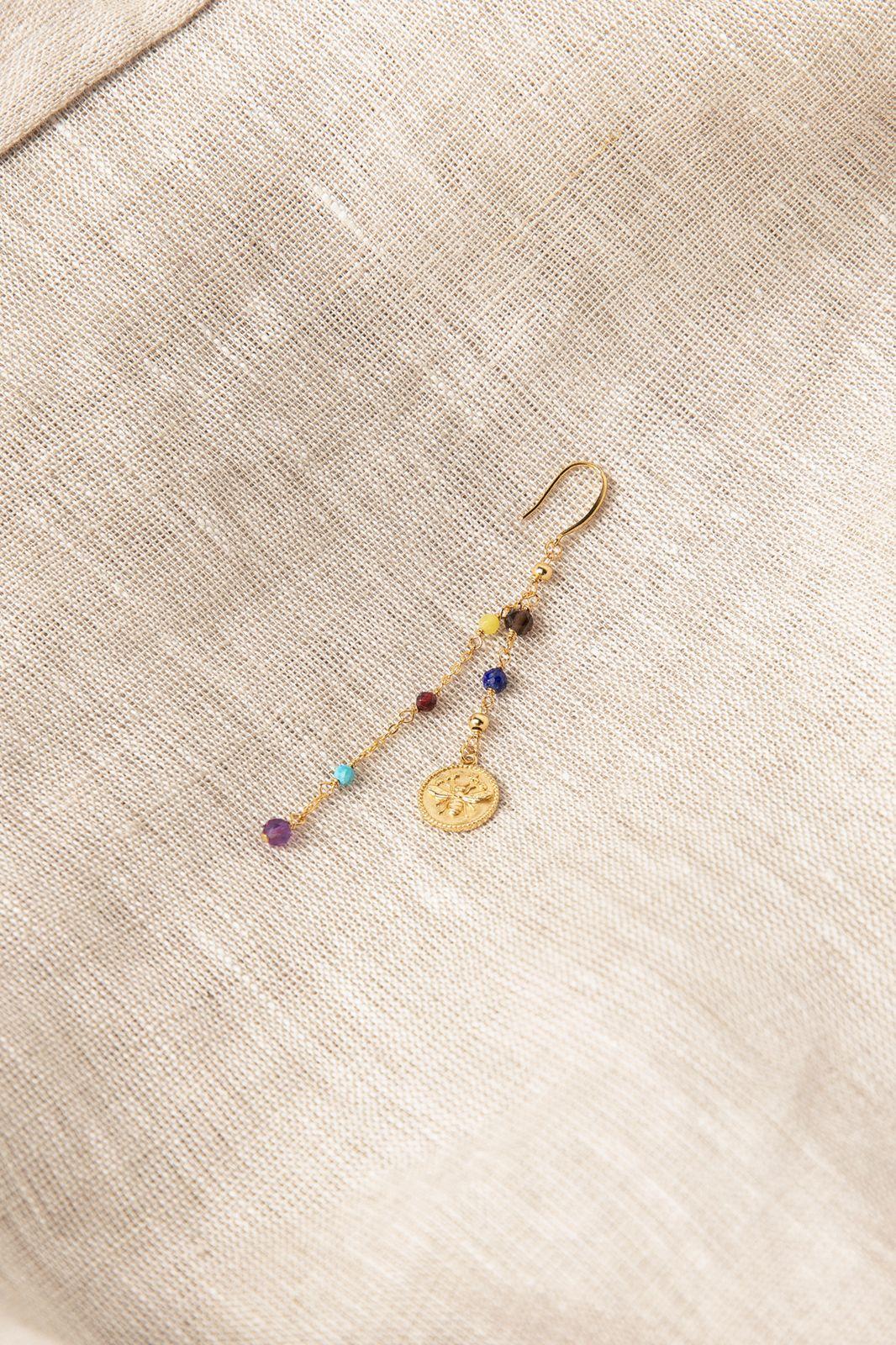 Goldplated single oorbel met multicolor stenen en muntje - Dames | Sissy-Boy