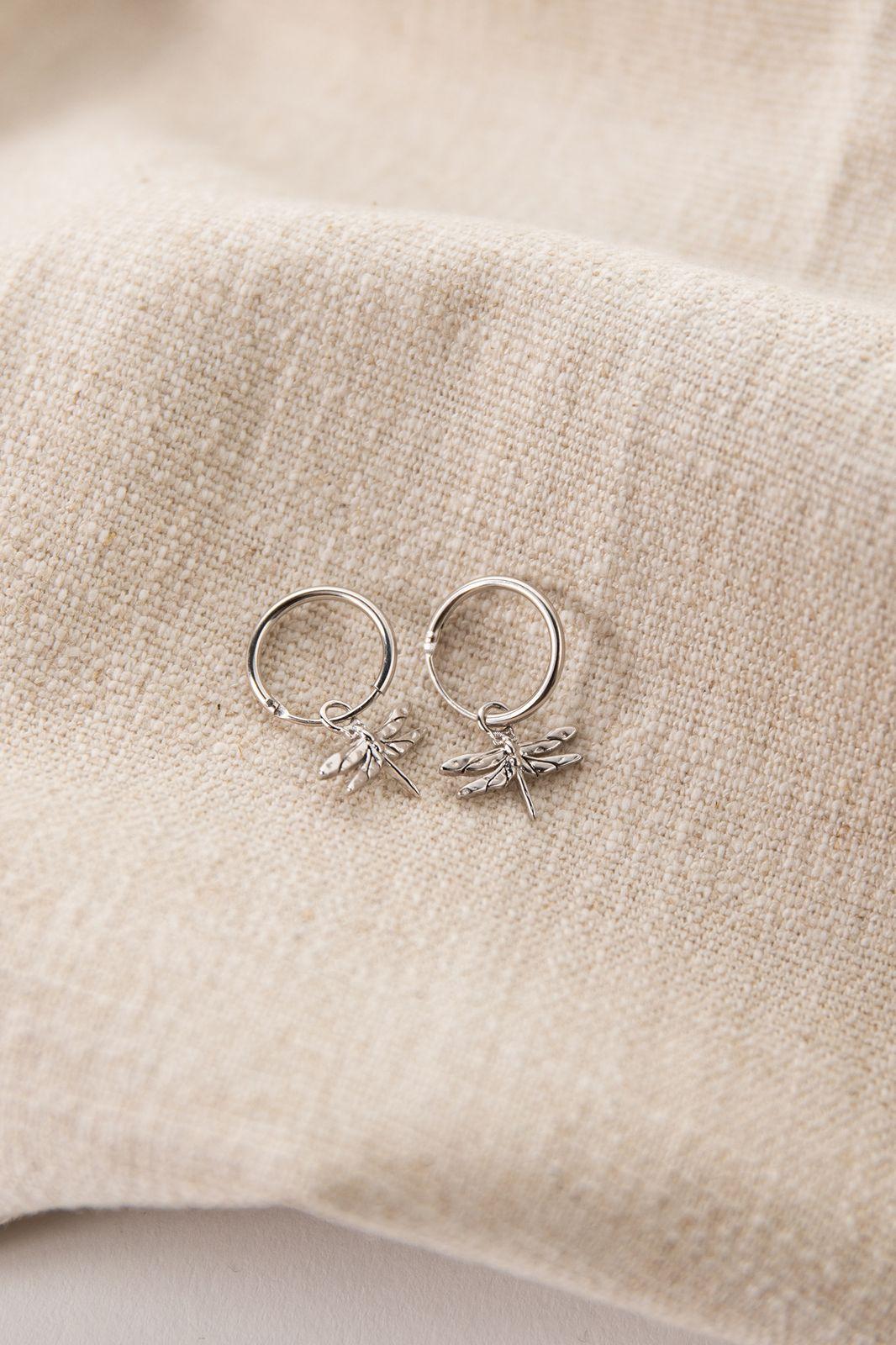 Zilveren oorbellen met libelle - Dames | Sissy-Boy