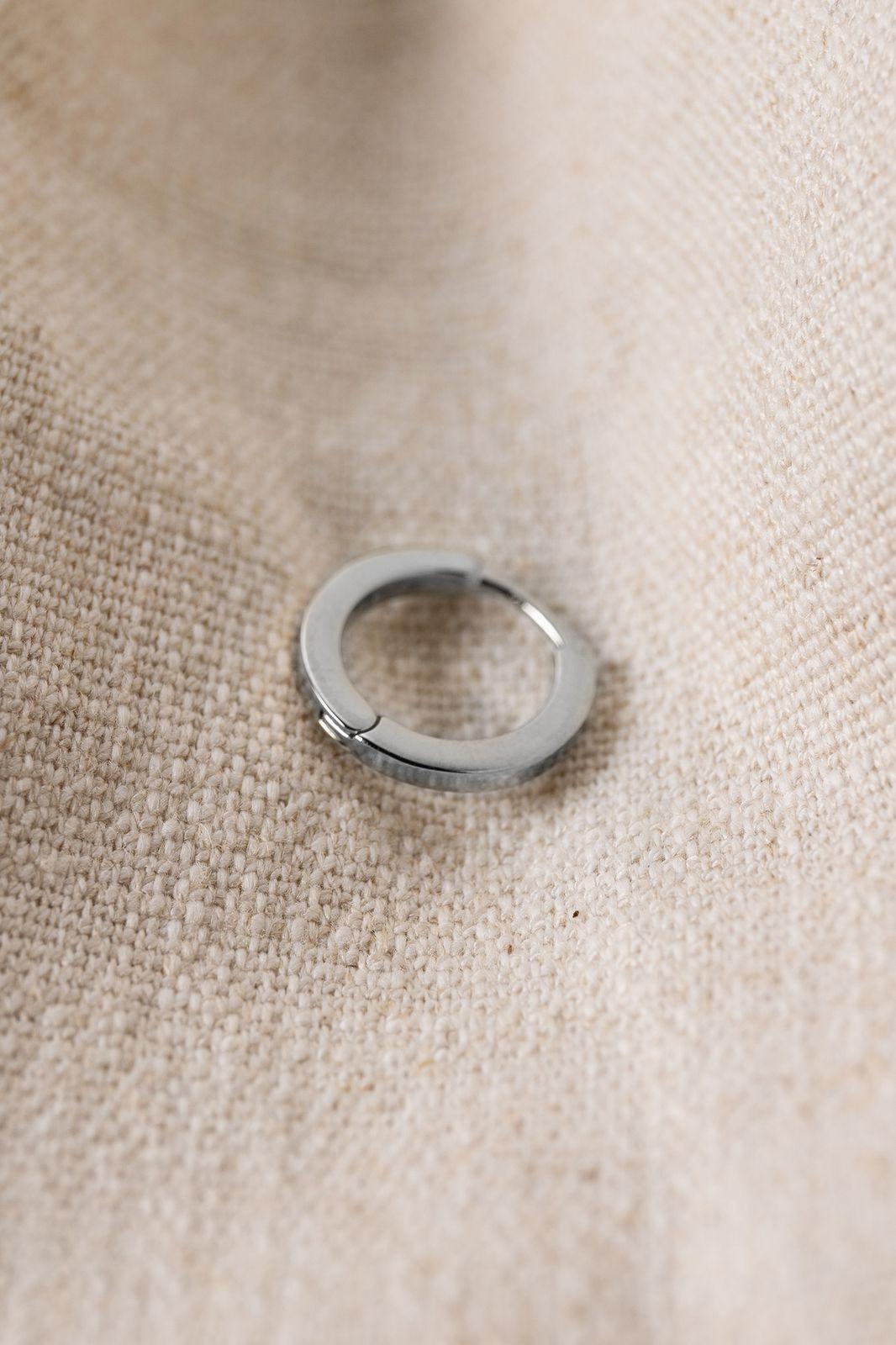 Zilveren rectangular oorbel L - Dames | Sissy-Boy