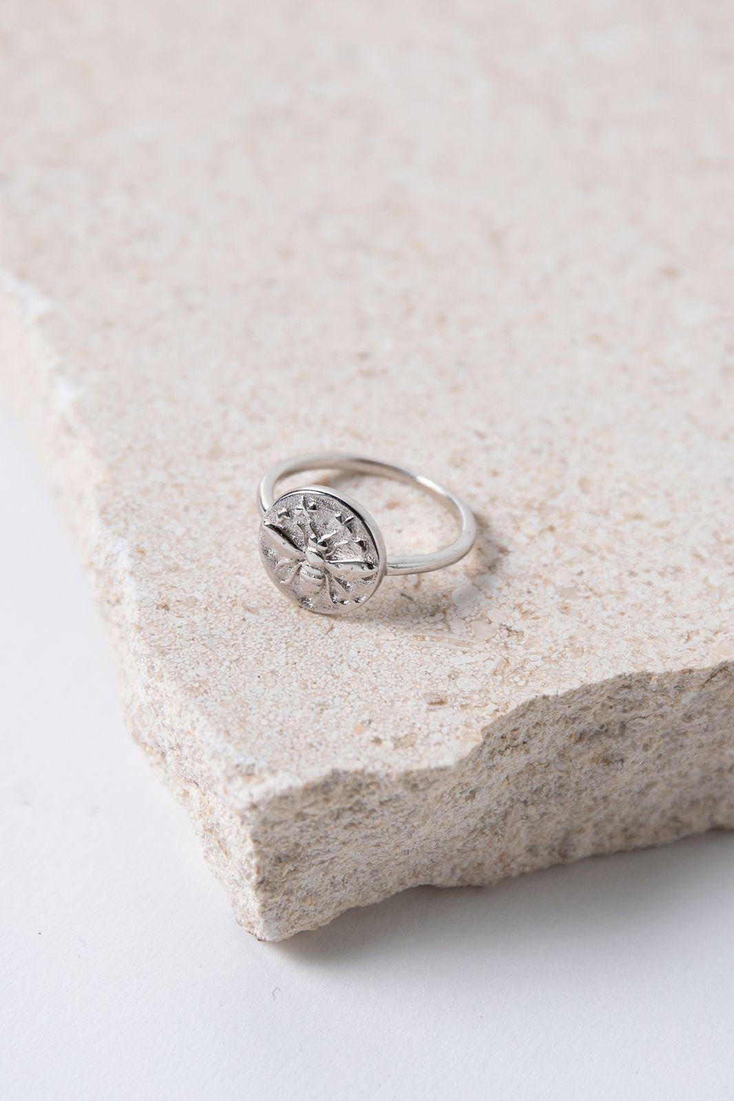 Zilveren ring met muntje