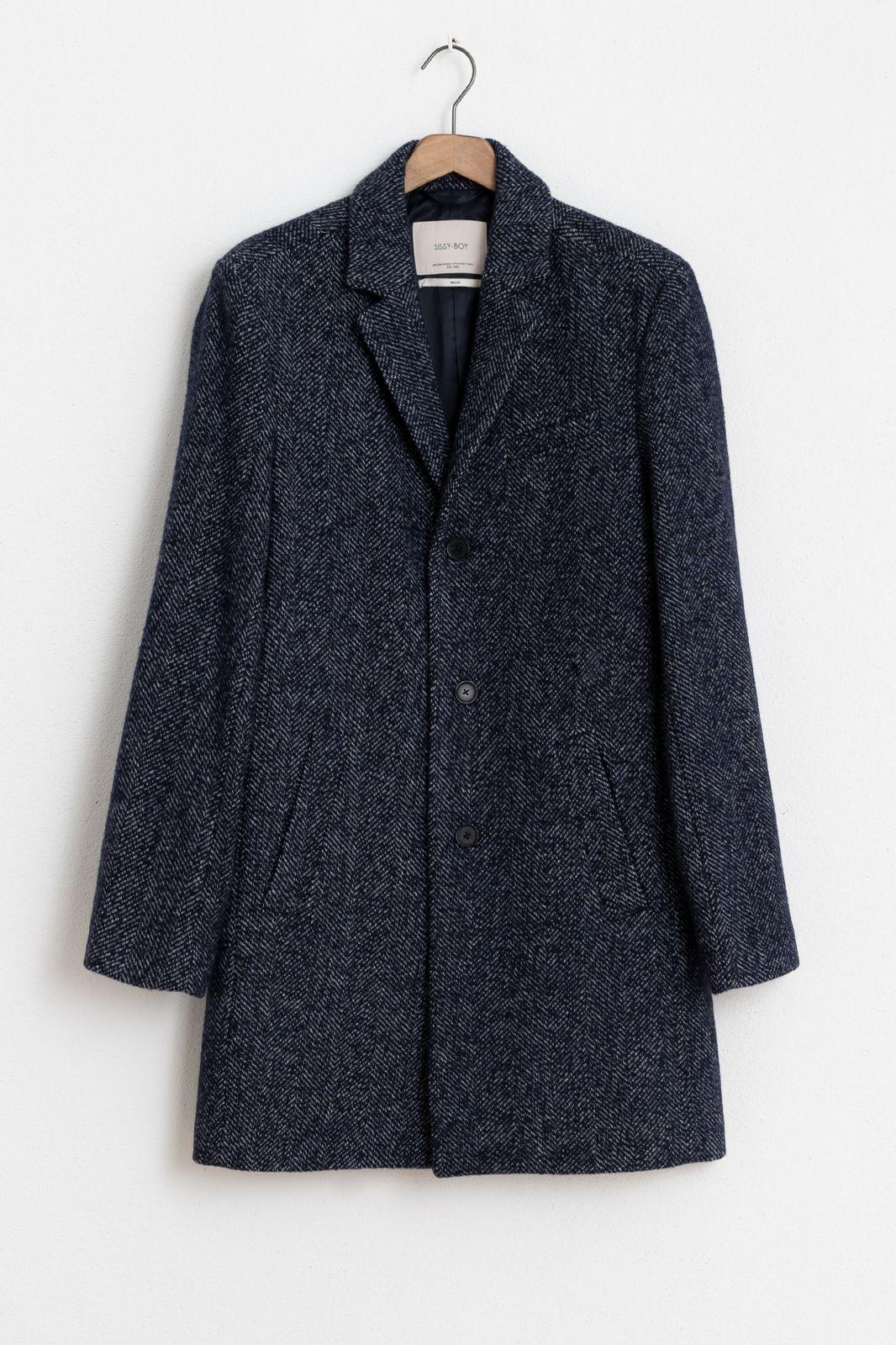 Donkerblauwe wollen jas herringbone - Heren | Sissy-Boy