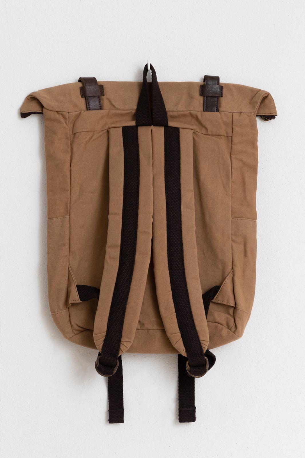 Camelkleurige rugzak met leren details - Heren | Sissy-Boy
