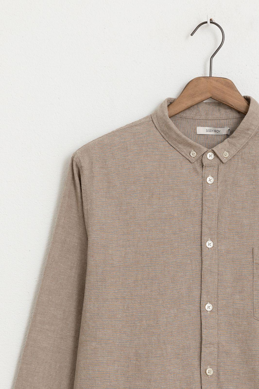 Beige katoen linnen overhemd - Heren | Sissy-Boy