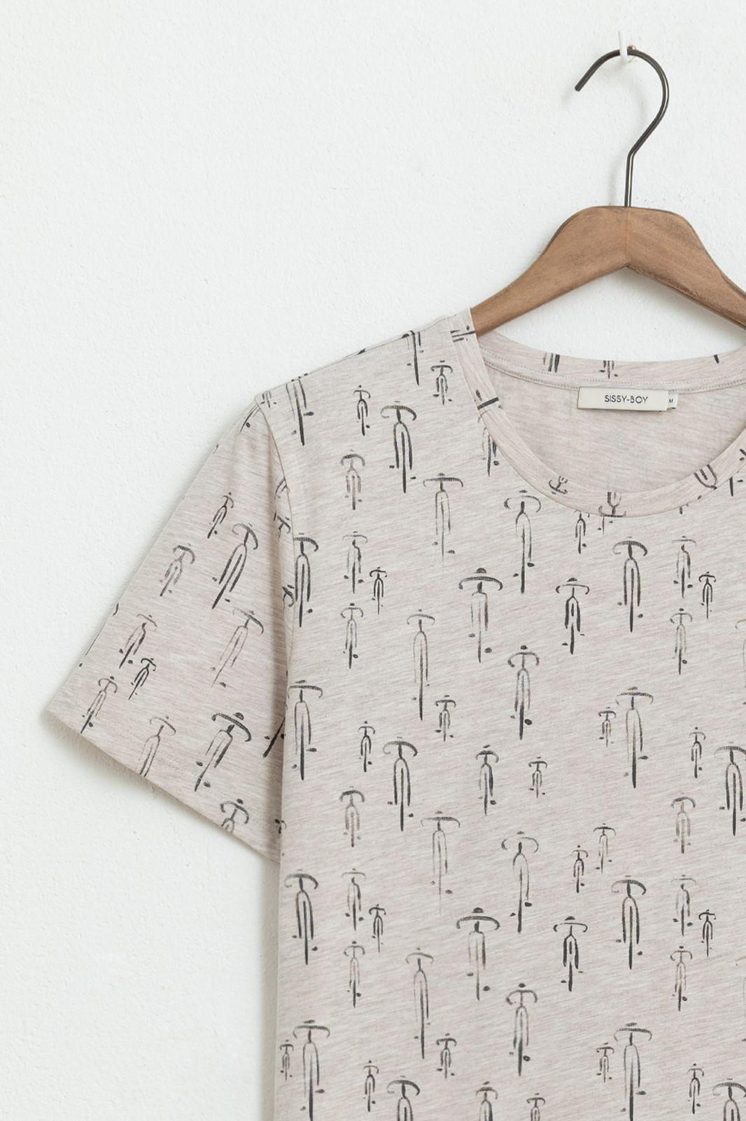 Beige T-shirt met all over print - Heren | Sissy-Boy