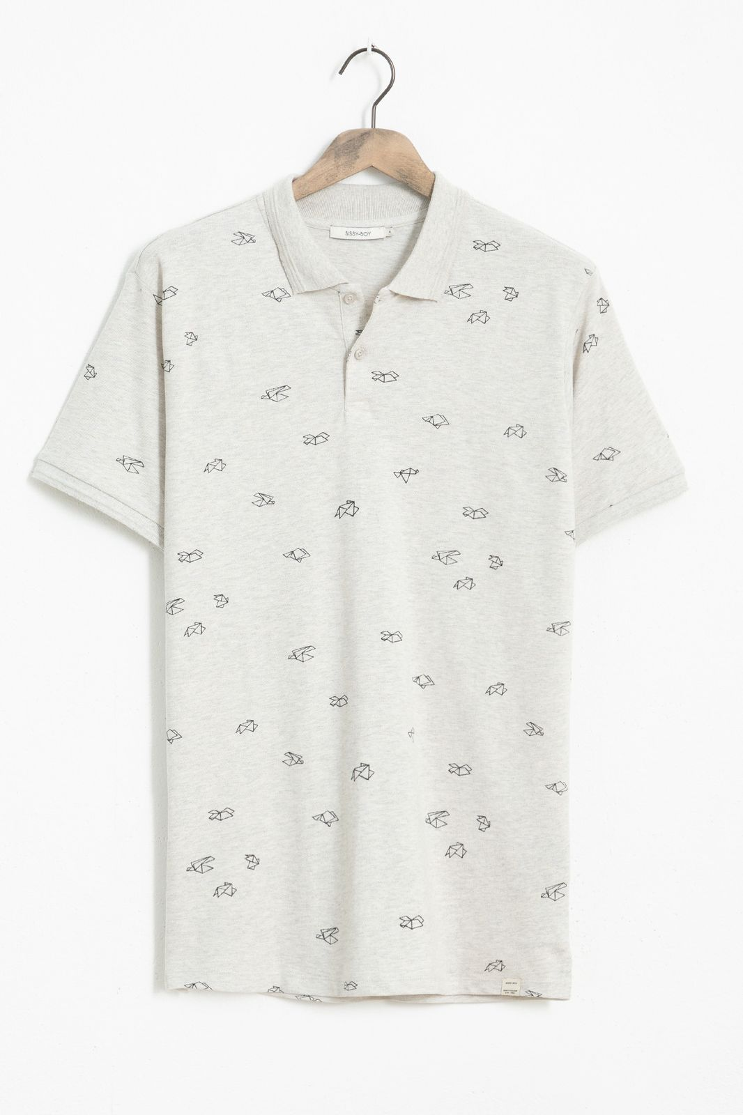 Beige pique polo met all over origami print