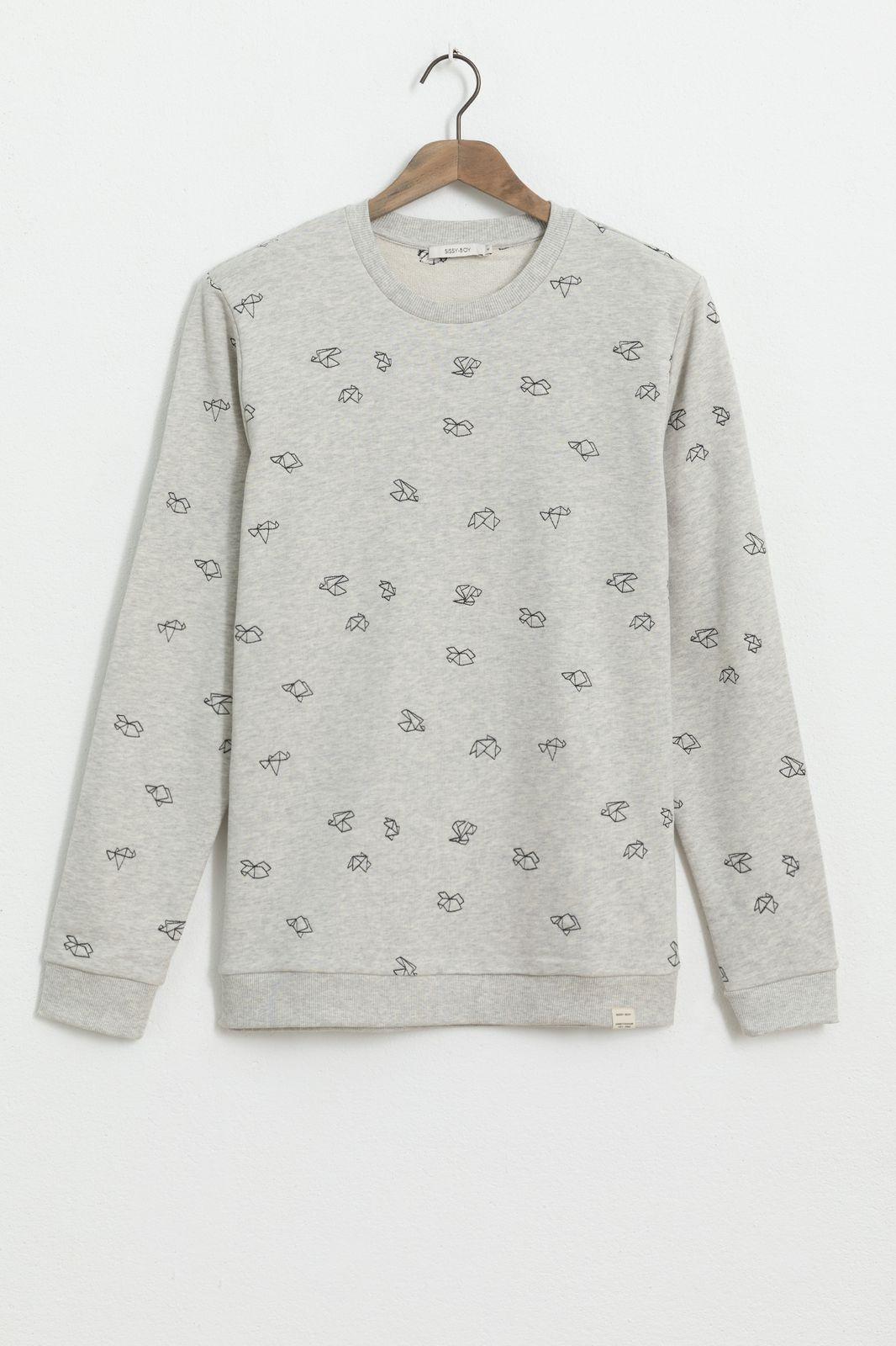 Beige sweater met all over origami embroidery - Heren | Sissy-Boy