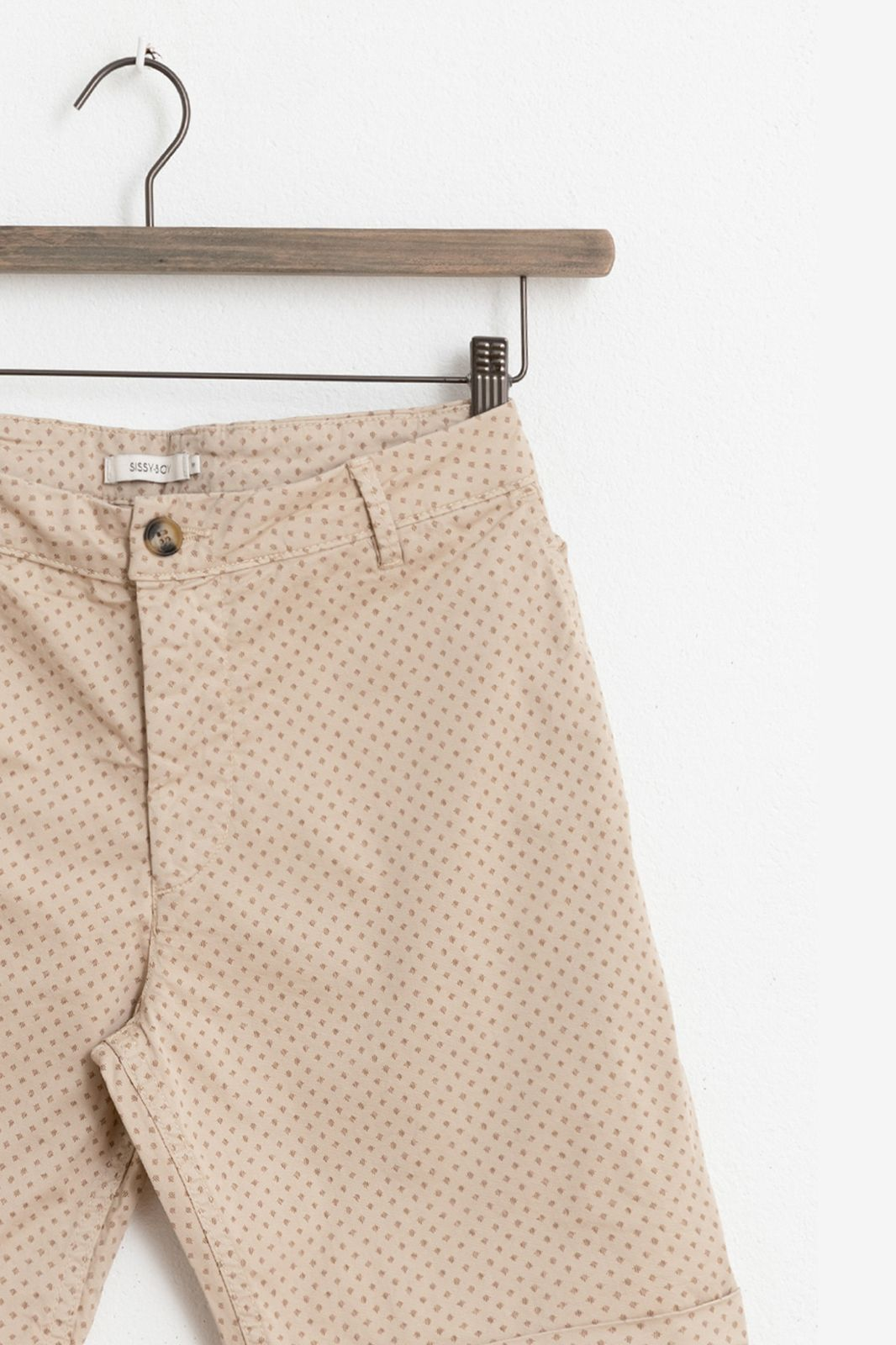 Beige chino shorts met all over print - Heren | Sissy-Boy