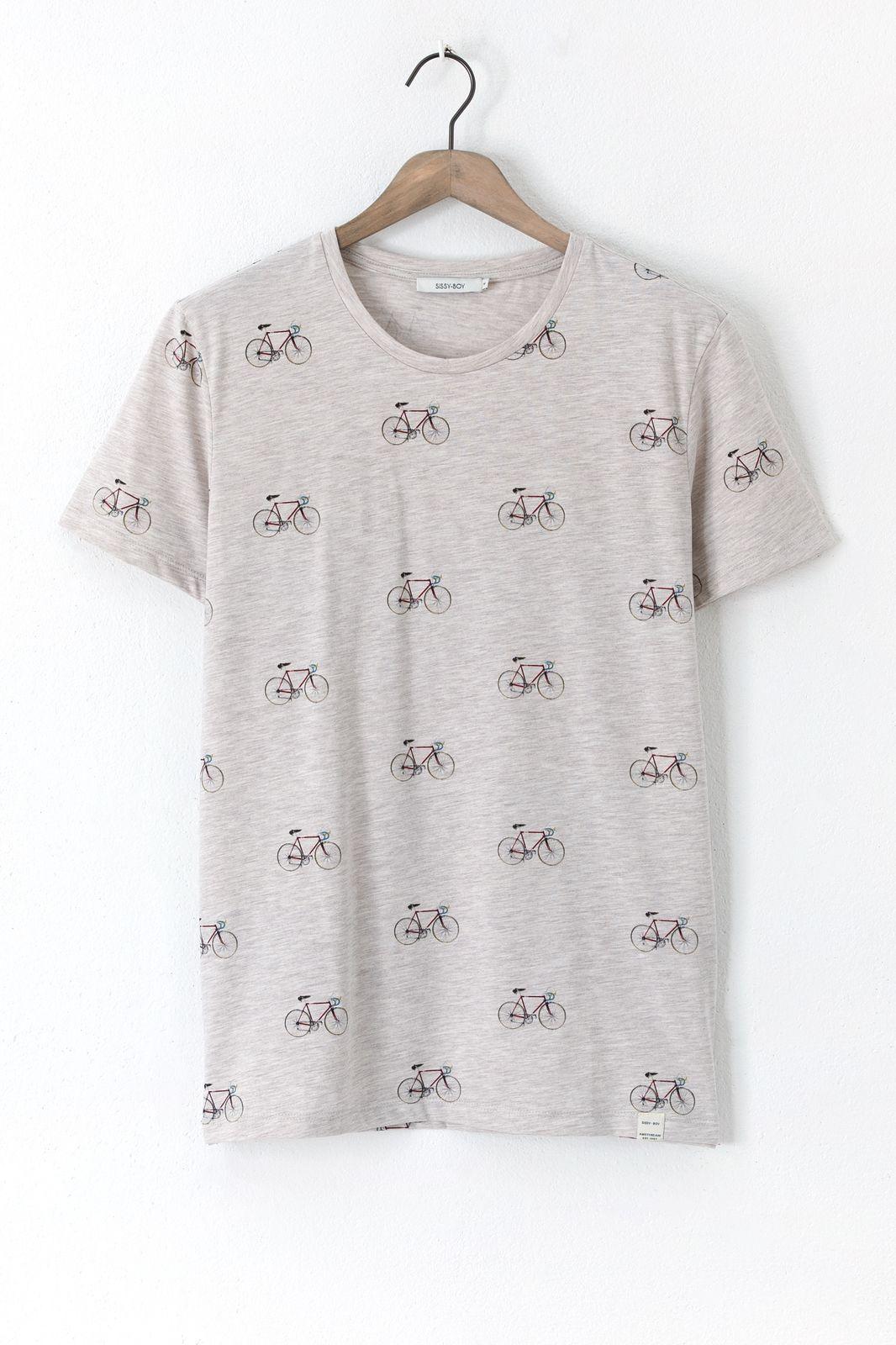 Grijs T-shirt met bicycle print - Heren | Sissy-Boy
