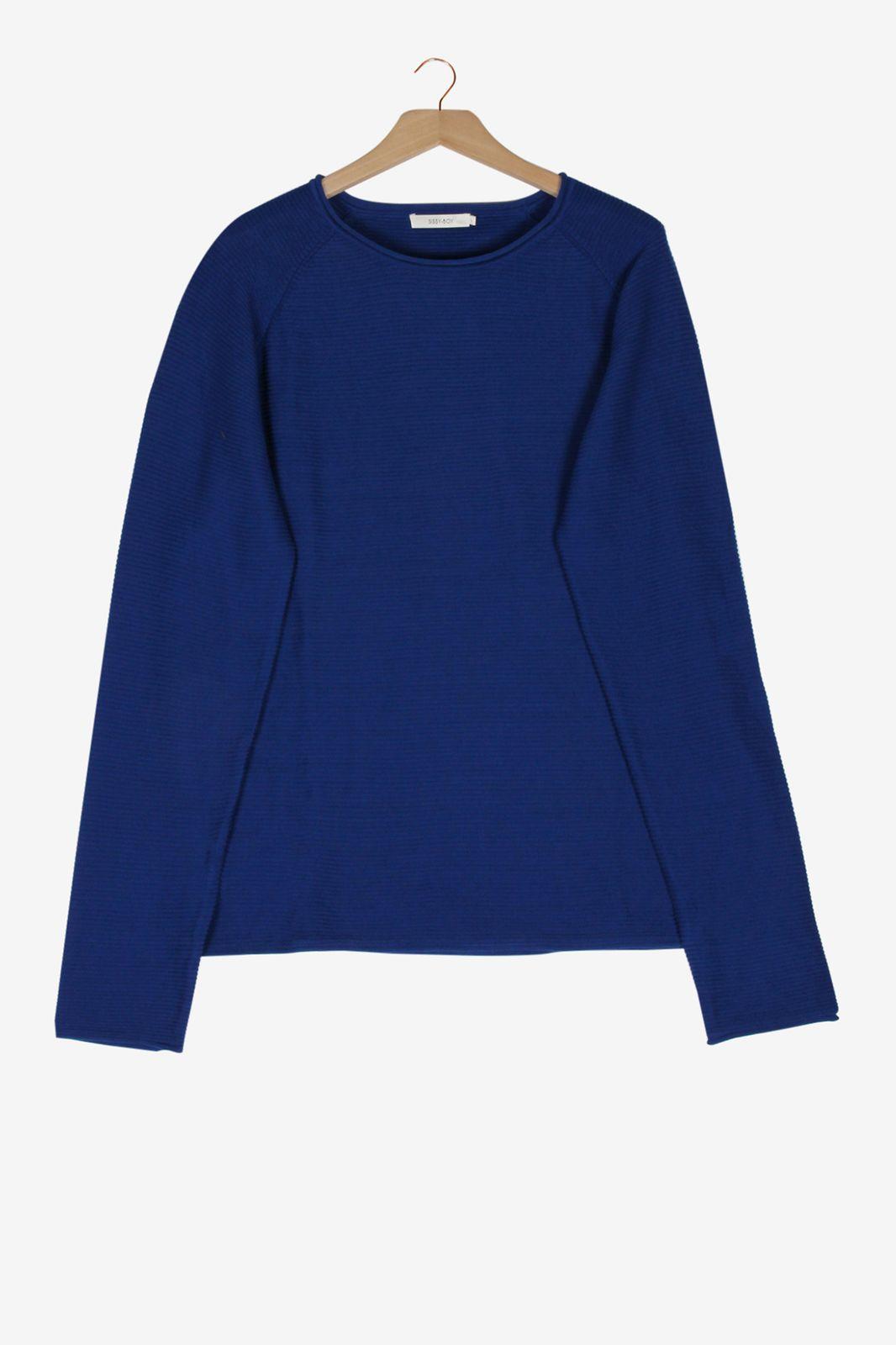 Marineblauwe rib knit sweater