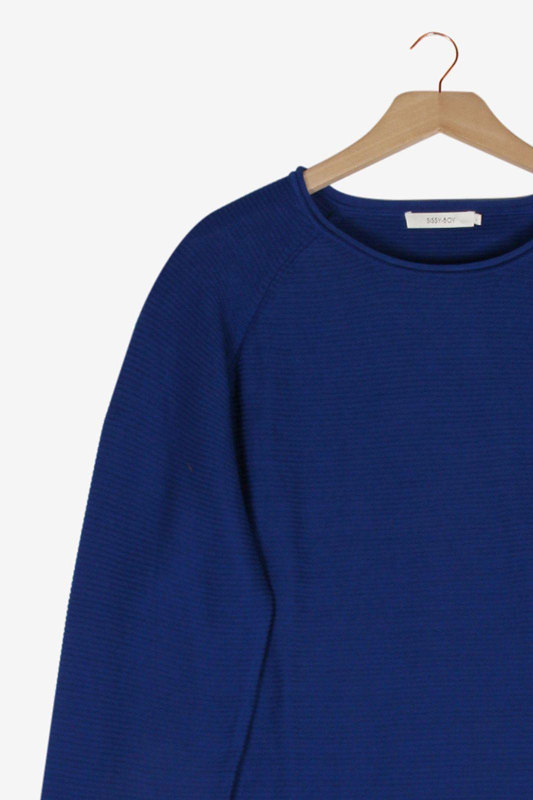 Marineblauwe rib knit trui - Heren | Sissy-Boy