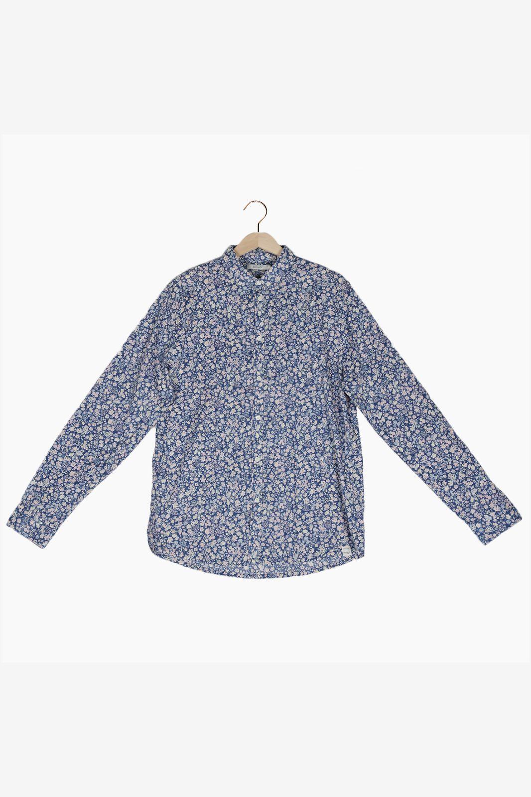 Blauw overhemd met all over bloemenprint