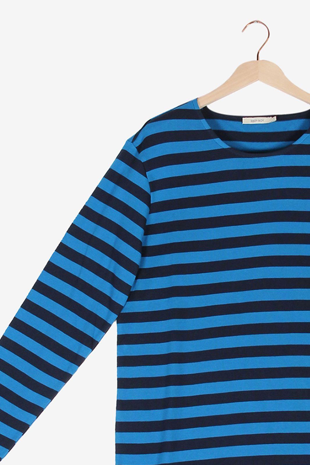 Blauw gestreept t-shirt met lange mouwen - Heren | Sissy-Boy