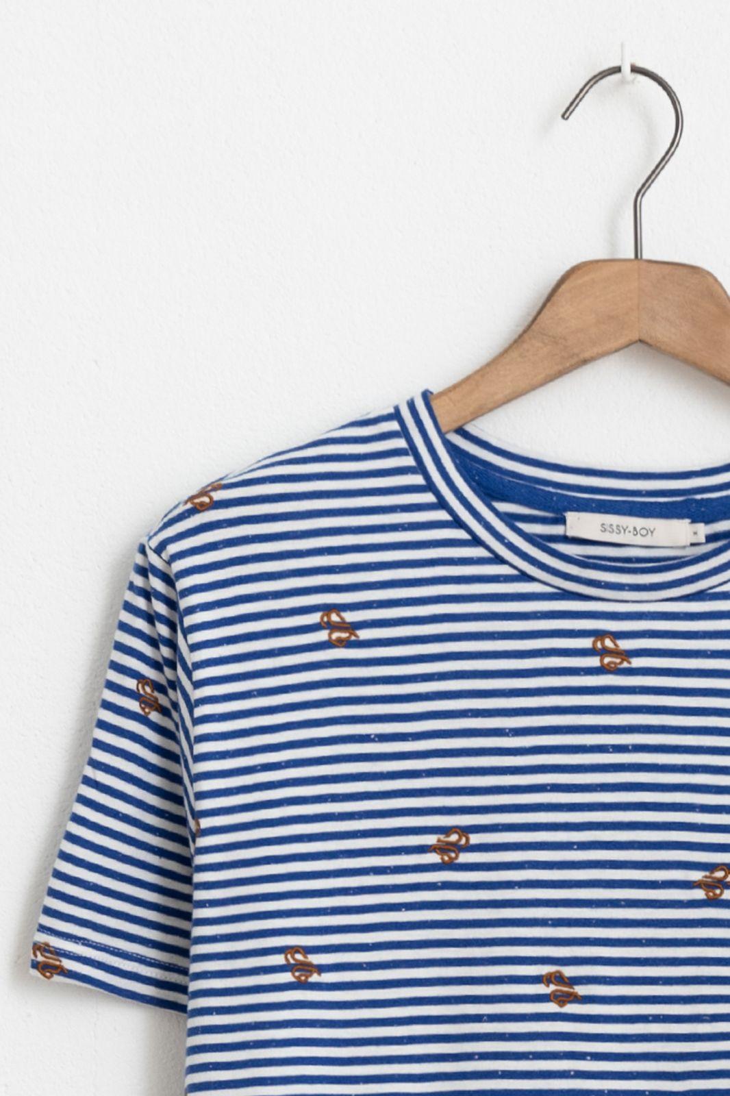Blauw T-shirt met strepen en embroidery