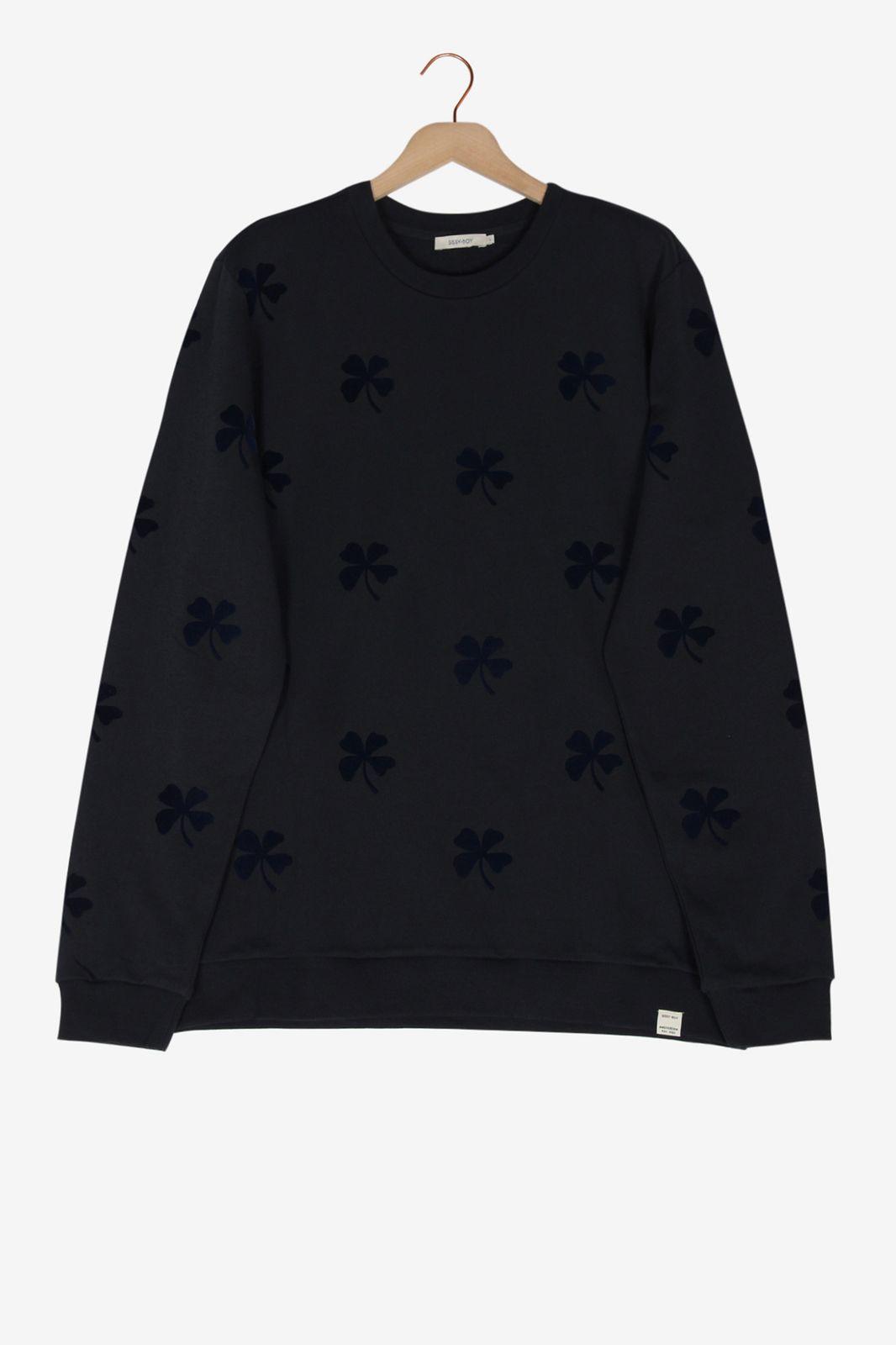 Donkerblauwe sweater met subtiele print - Heren | Sissy-Boy