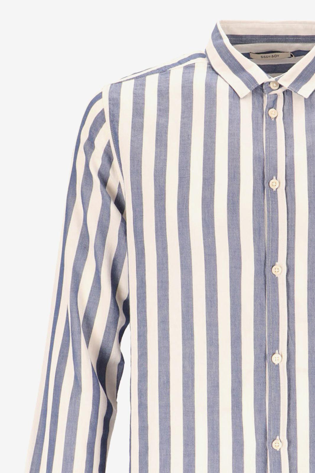 Blauw met wit gestreept overhemd - Heren | Sissy-Boy