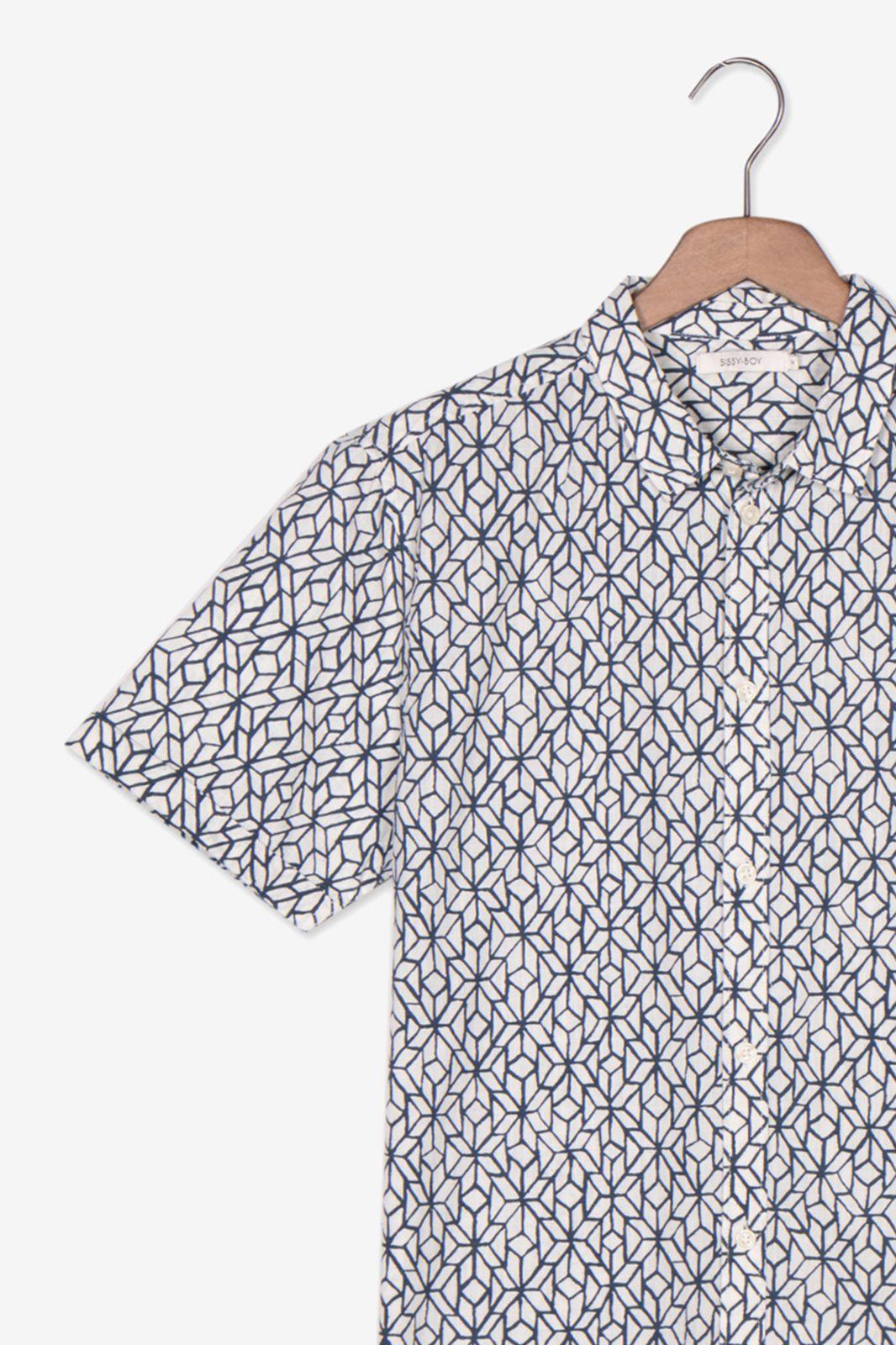 Katoenen overhemd korte mouwen allover print - Heren | Sissy-Boy