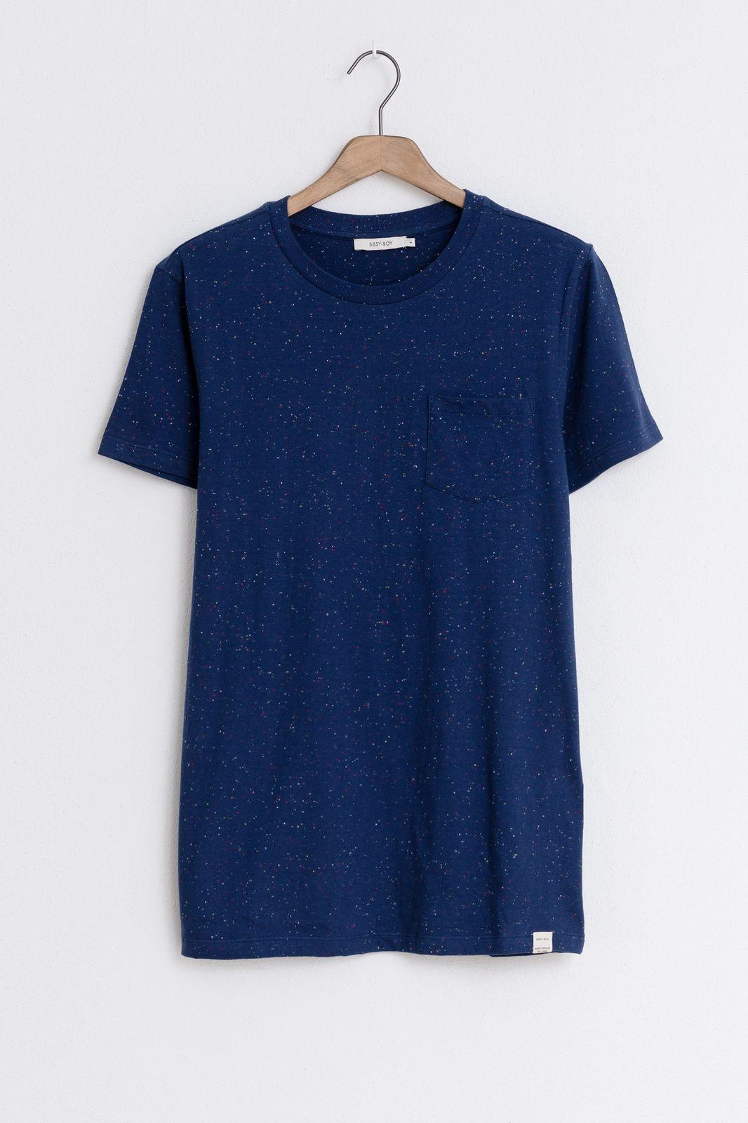 Donkerblauw t-shirt met borstzak Essential - Heren | Sissy-Boy
