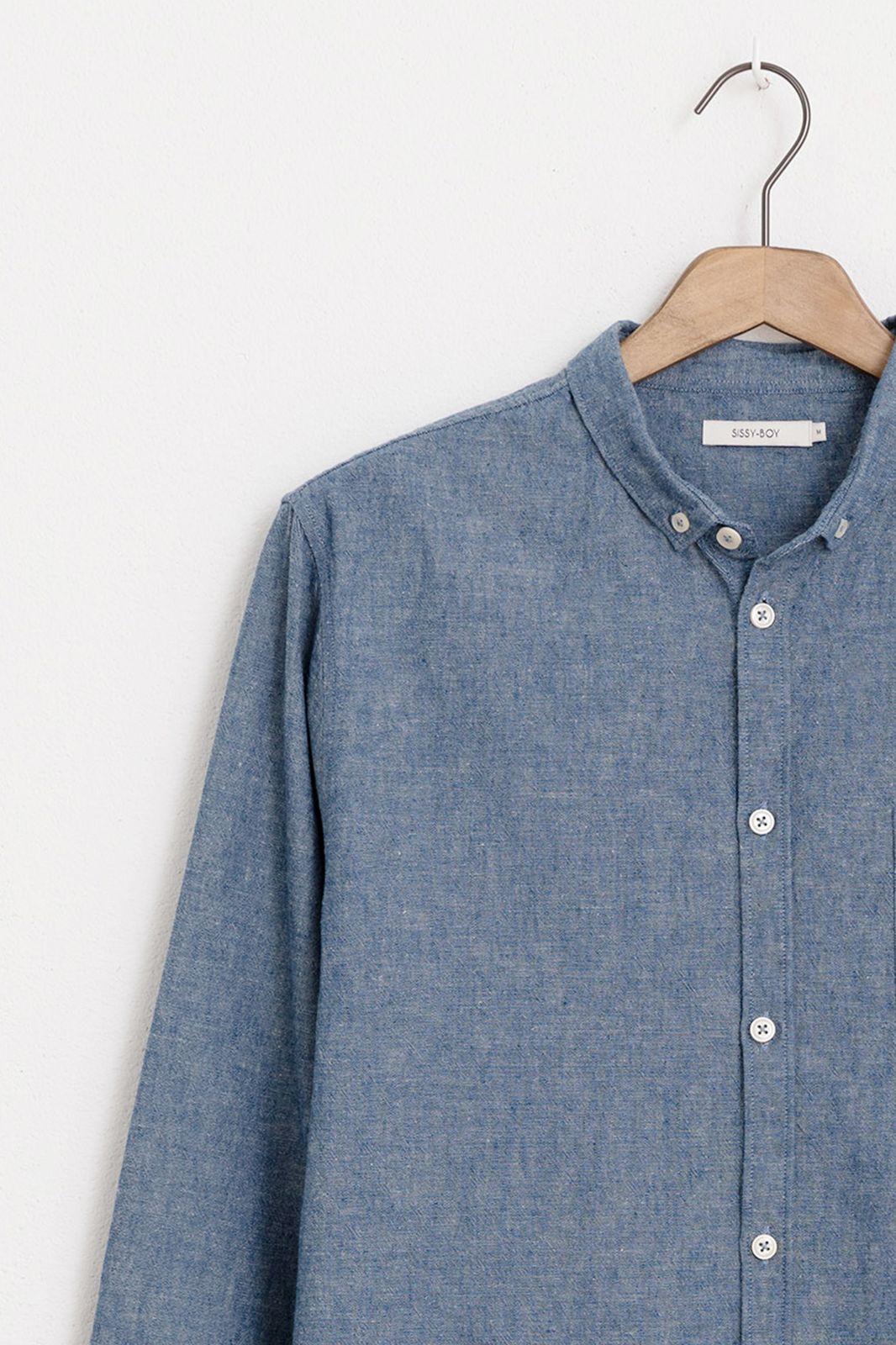 Blauw overhemd katoen linnen - Heren | Sissy-Boy