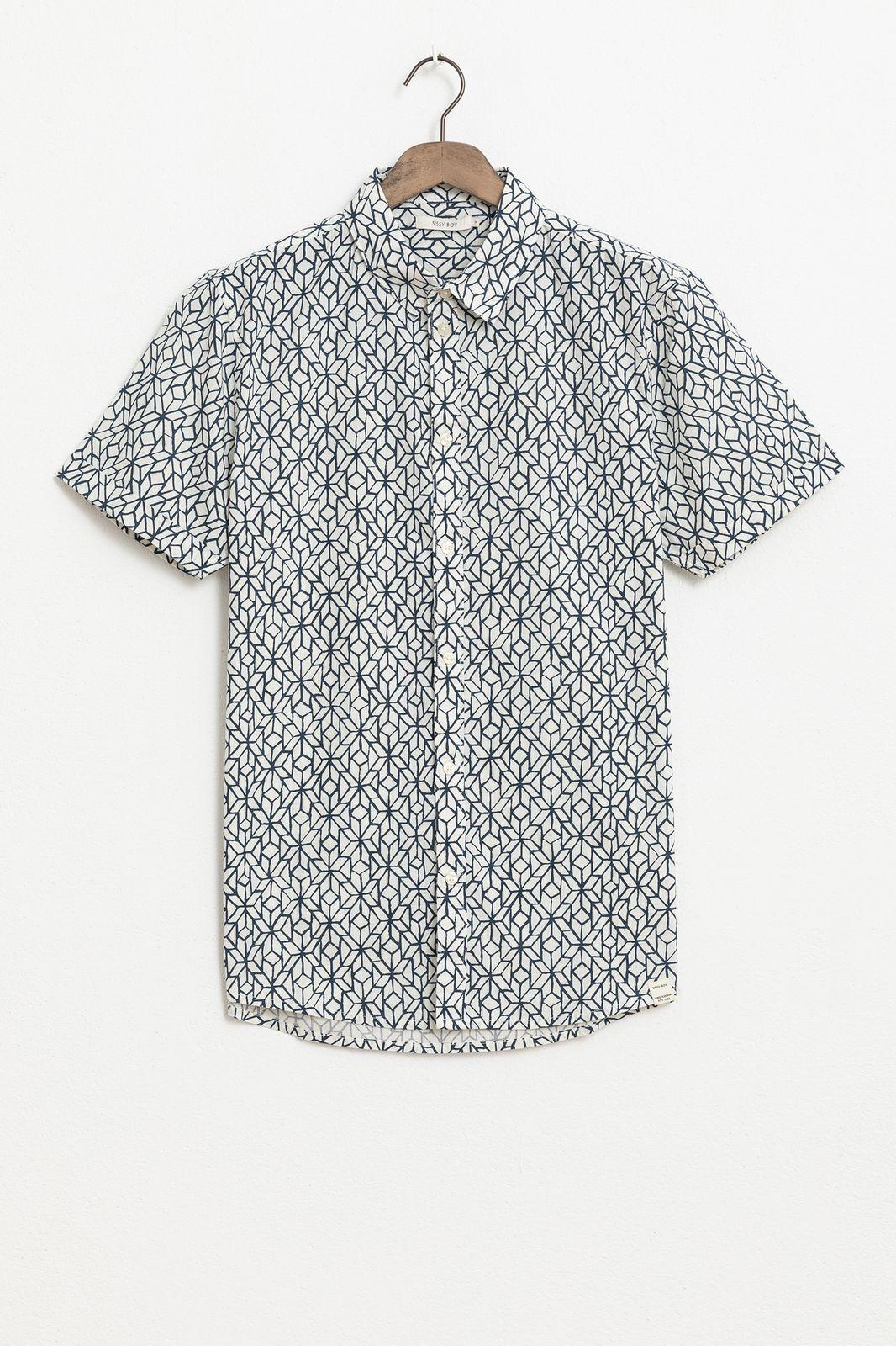 Overhemd met all over print en korte mouwen
